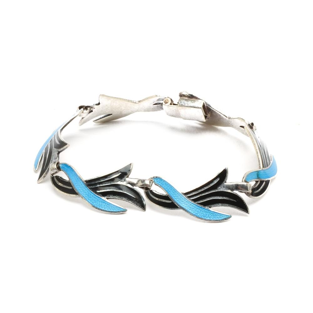 Miguel Arias Sterling Silver Enamel Link Bracelet