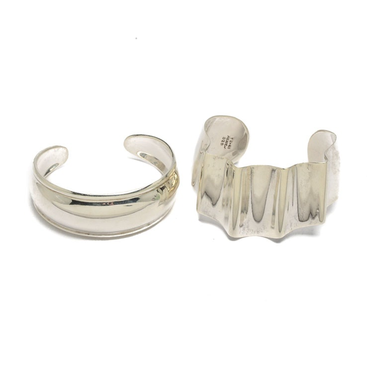 Sterling Silver Contemporary Crinkle Bracelet and High-Polish Cuff