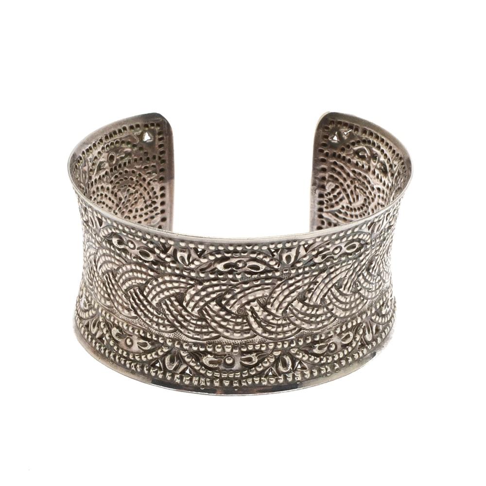 Vintage Sterling Silver Repoussé Cuff Bracelet
