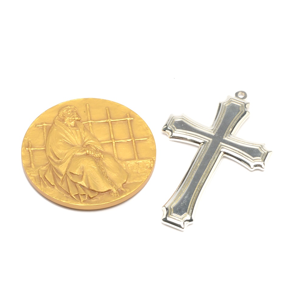 Sterling Silver Gorham Cross with Gold Tone St. Peter in Chains Medallion
