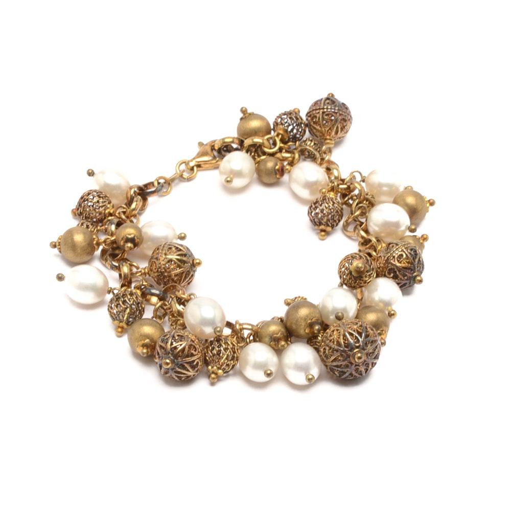 Sterling Silver Gold Gilt Cultured Pearl Bracelet