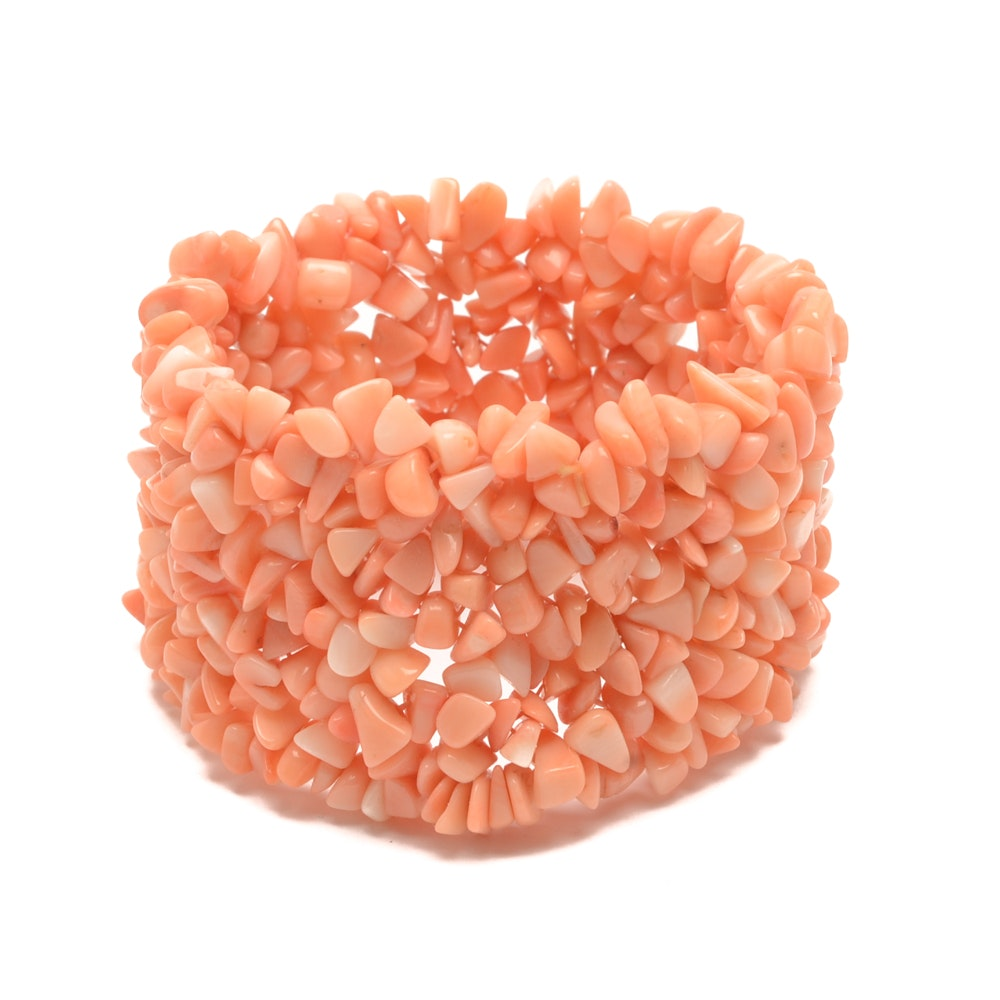 Vintage Handcrafted Pink Coral Shell Stretch Beaded Bracelet