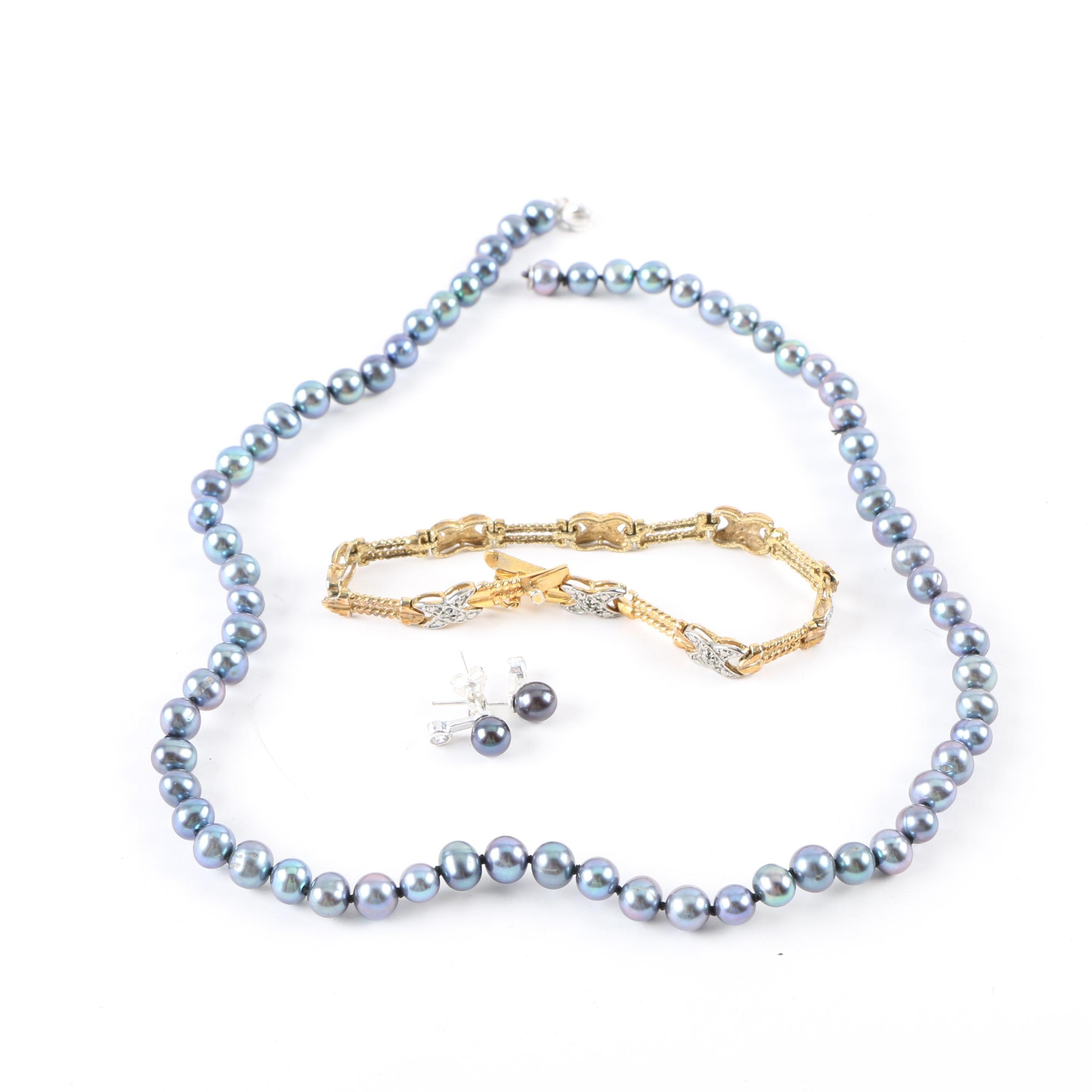 Sterling Silver Jewelry Including Cultured Pearls and Diamonds