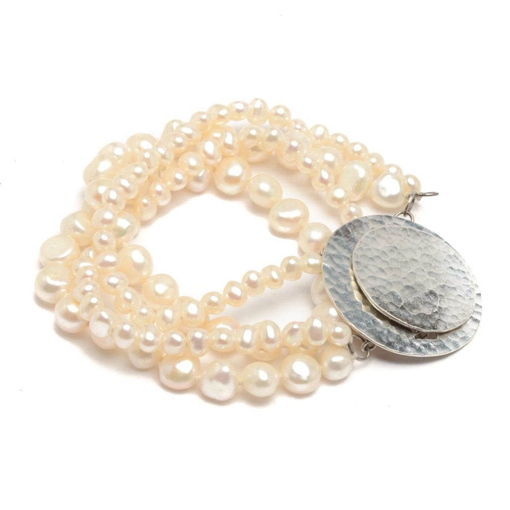 Sterling Silver and Cultured Pearl Bracelet
