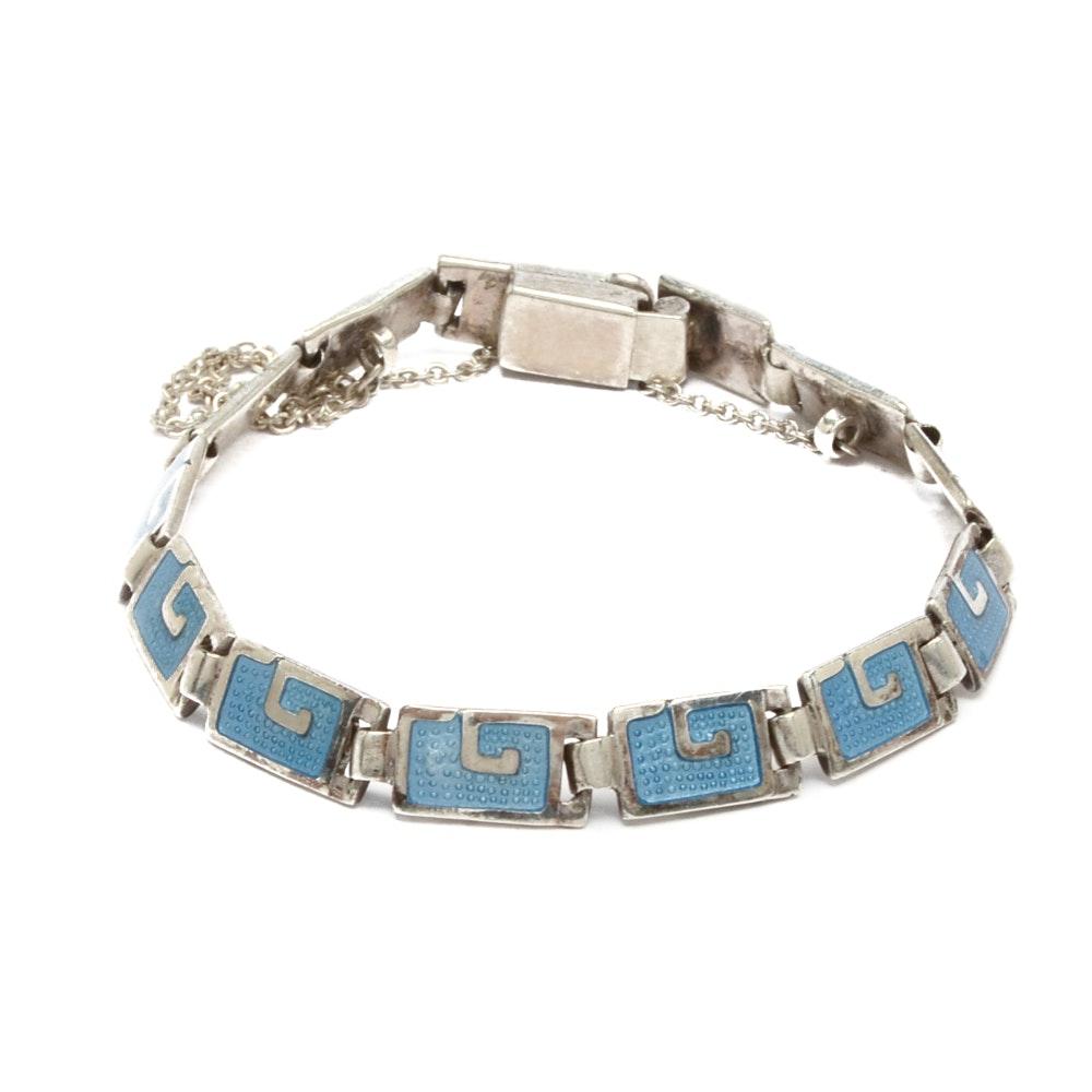 Sterling Silver and Light Blue Enamel Linked Bracelet by Margot De Taxco