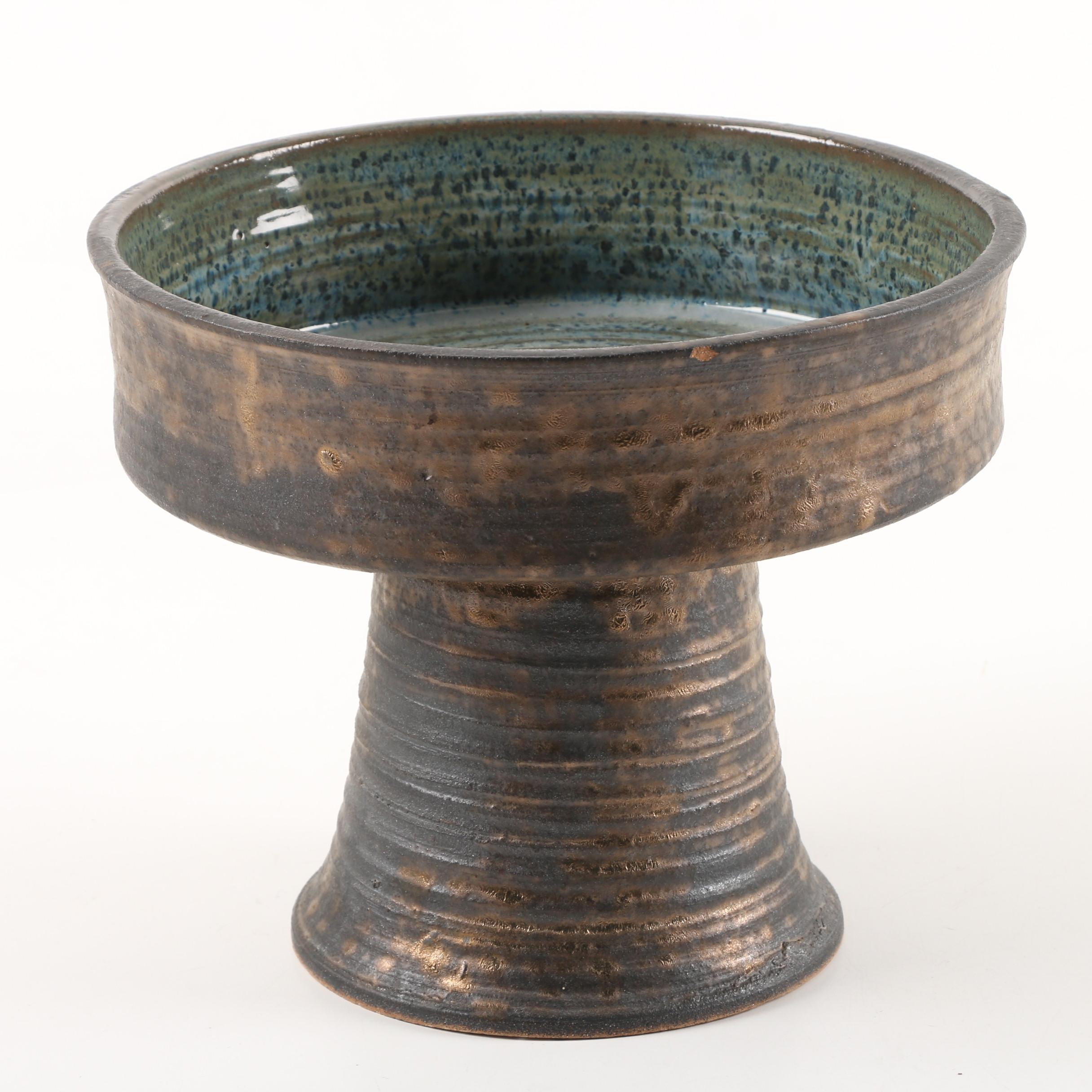 Terracotta Compote with Mottled Glaze