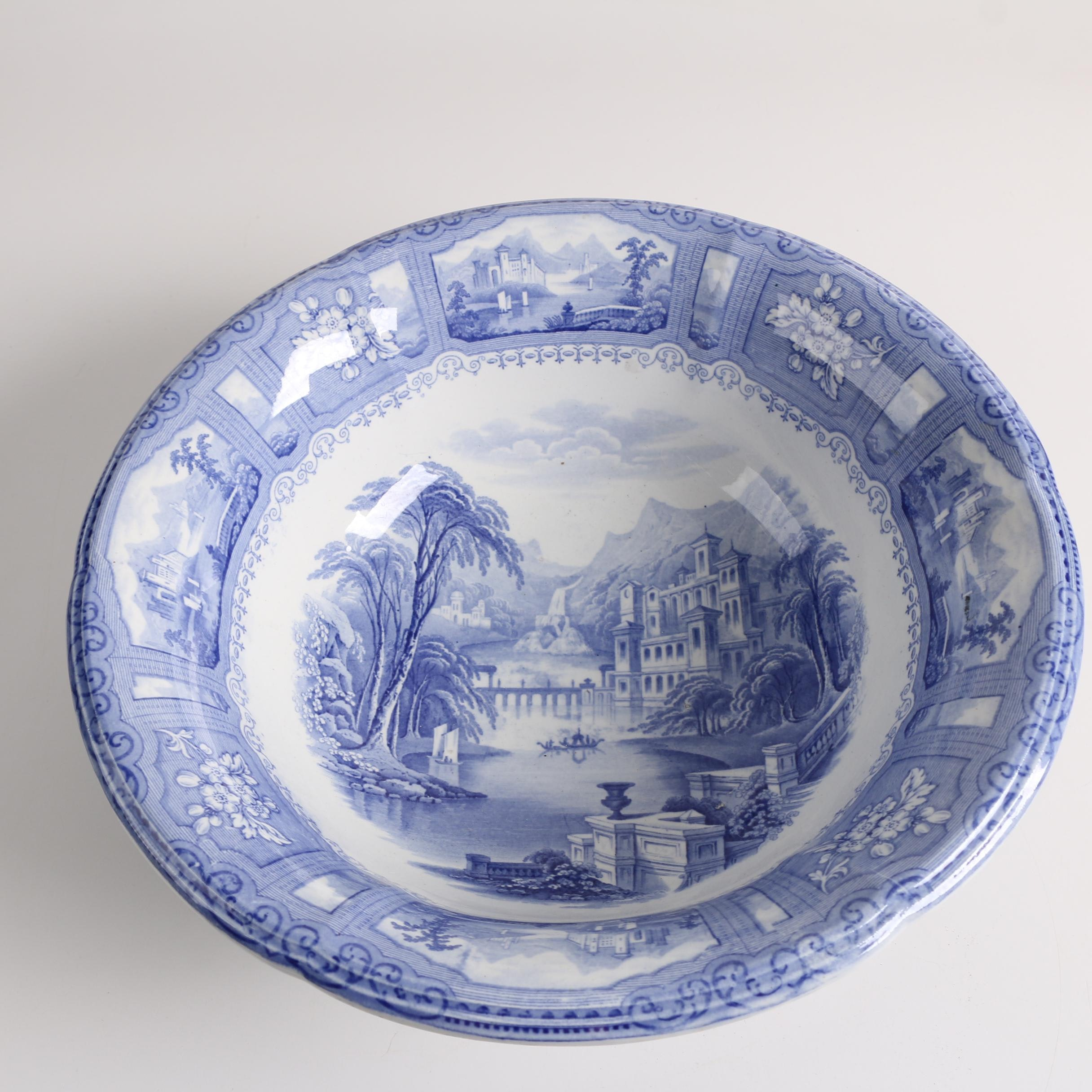 "Antique Blue Transferware ""Shannon"" Ironstone Bowl"