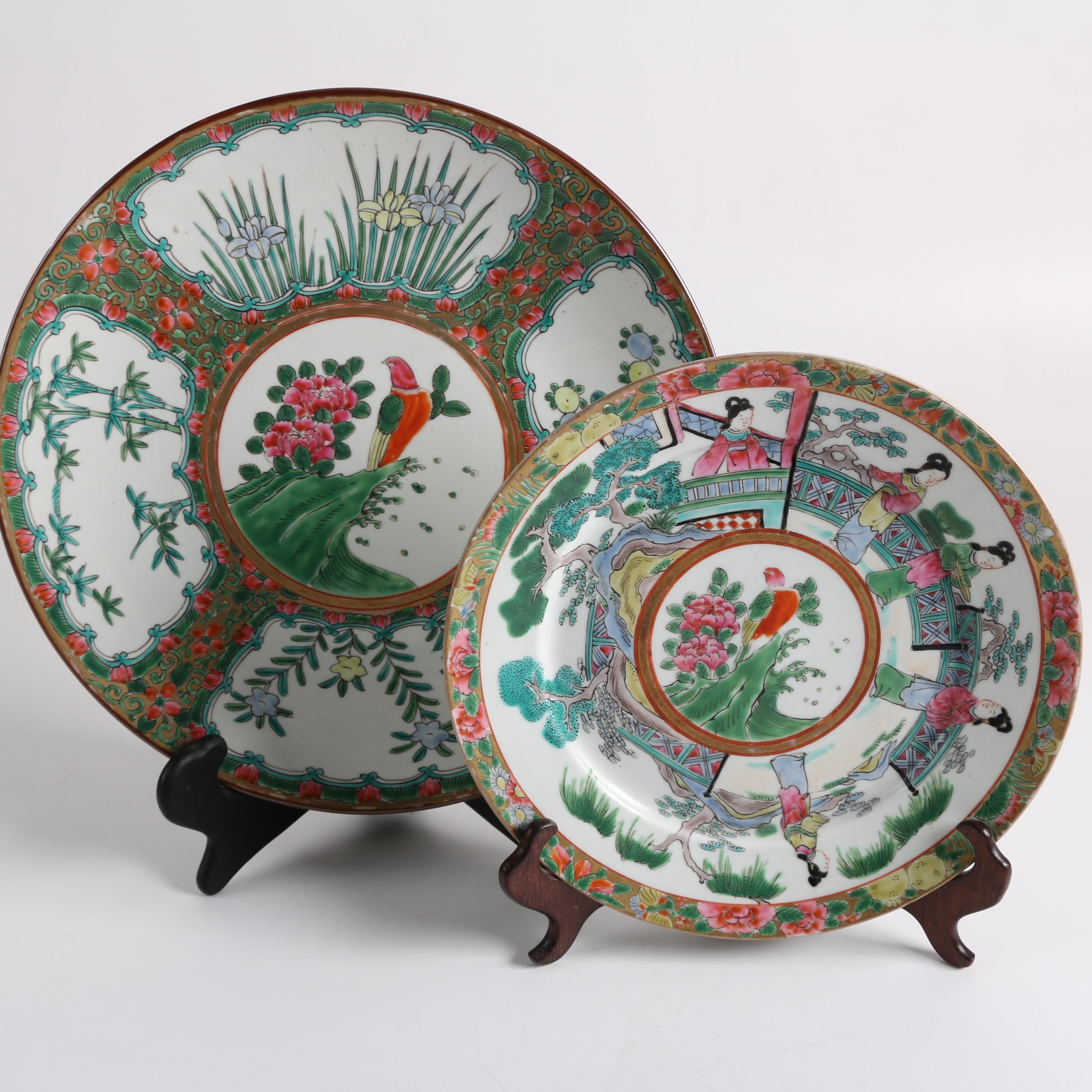 Rose Canton Style Porcelain Plates with Stands