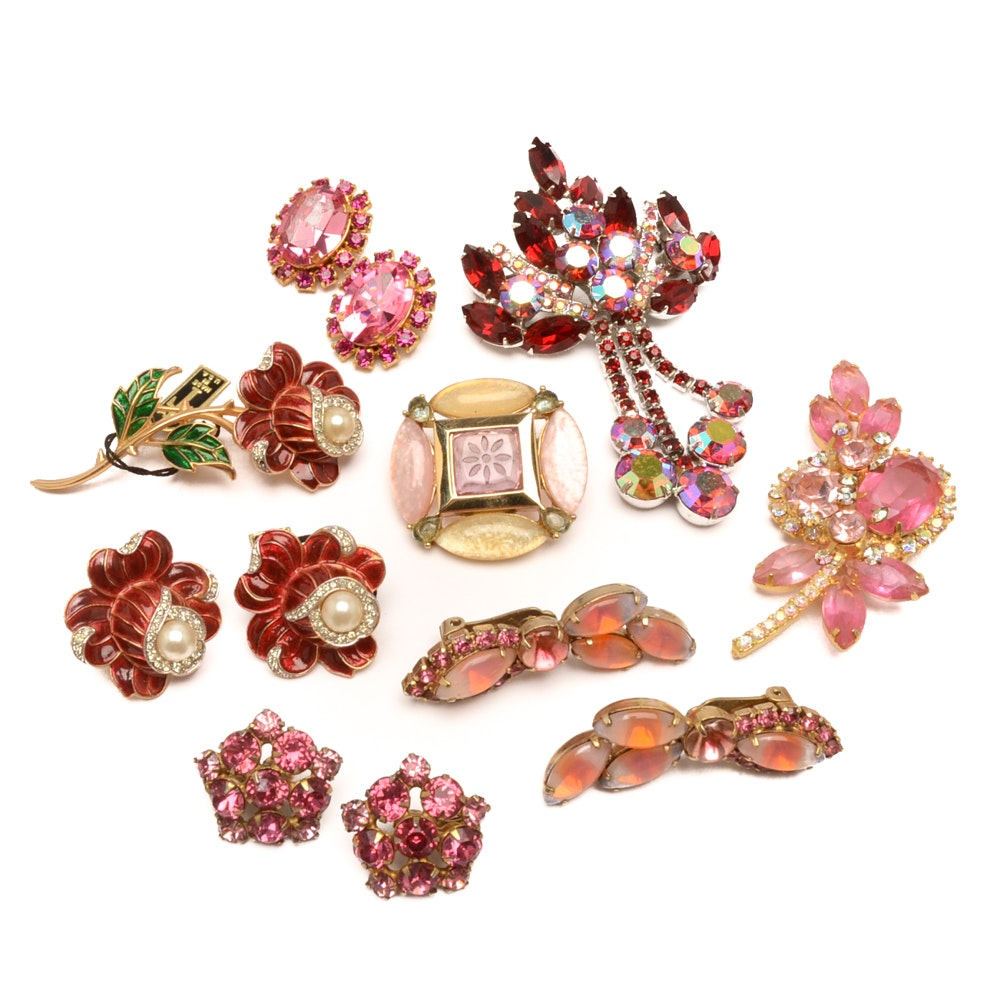 Selection of Pink and Red Gold and Silver Tone Jewelry Including Trifari