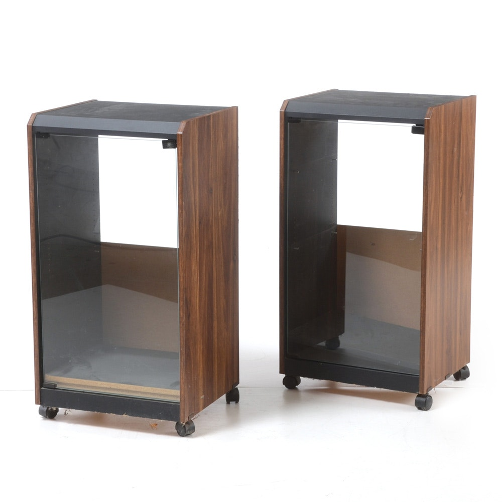 Pair of Black and Walnut Laminate Stereo Cabinets