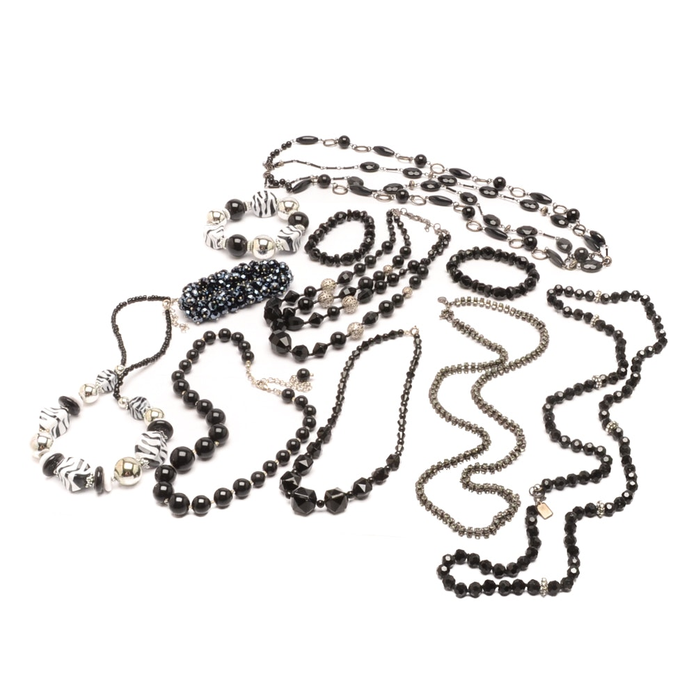 Assortment of Black and Silver Tone Beaded Necklaces and Bracelets
