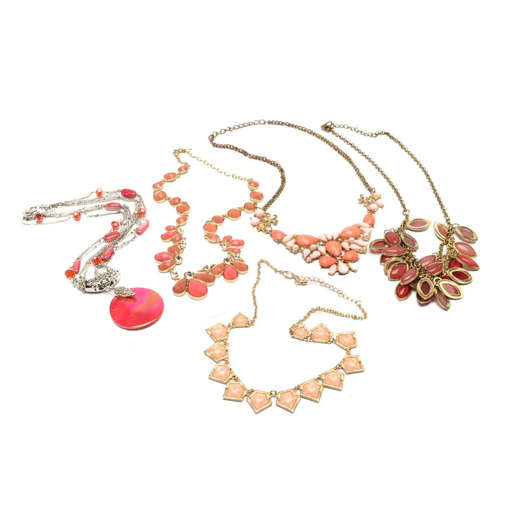 Gold and Silver Tone Shades of Pink Necklaces
