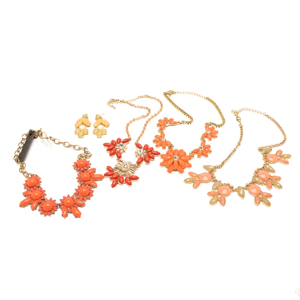Floral Inspired Gold Tone Fashion Necklaces Including J Crew with Earring Set