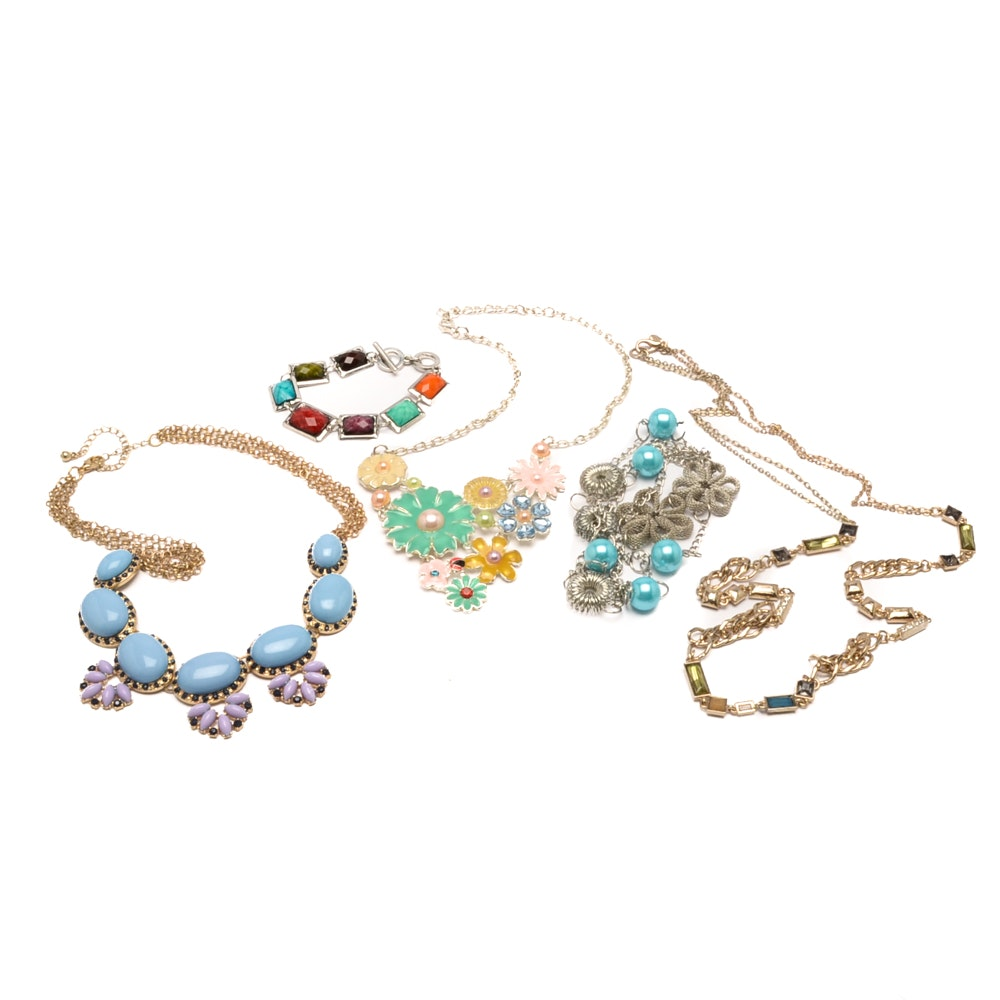 Colorful Assortment of Gold and Silver Toned Jewelry Including Ann Taylor