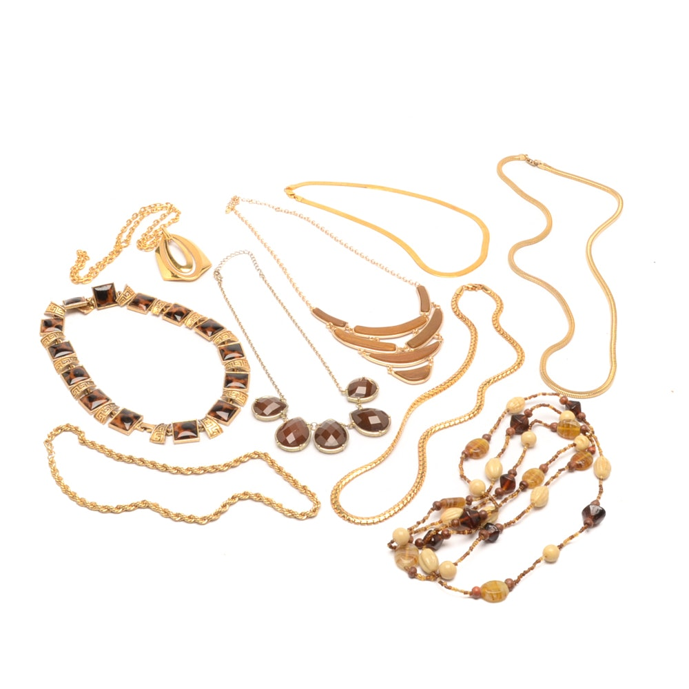 Jewelry Assortment of Gold Tone Necklaces