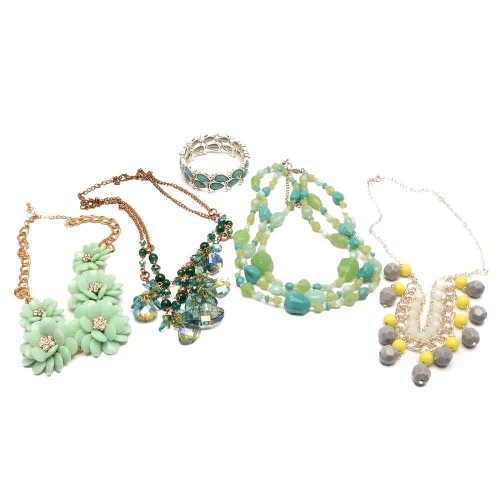 Selection of Gold and Silver Tone Summertime Jewelry Including Avon