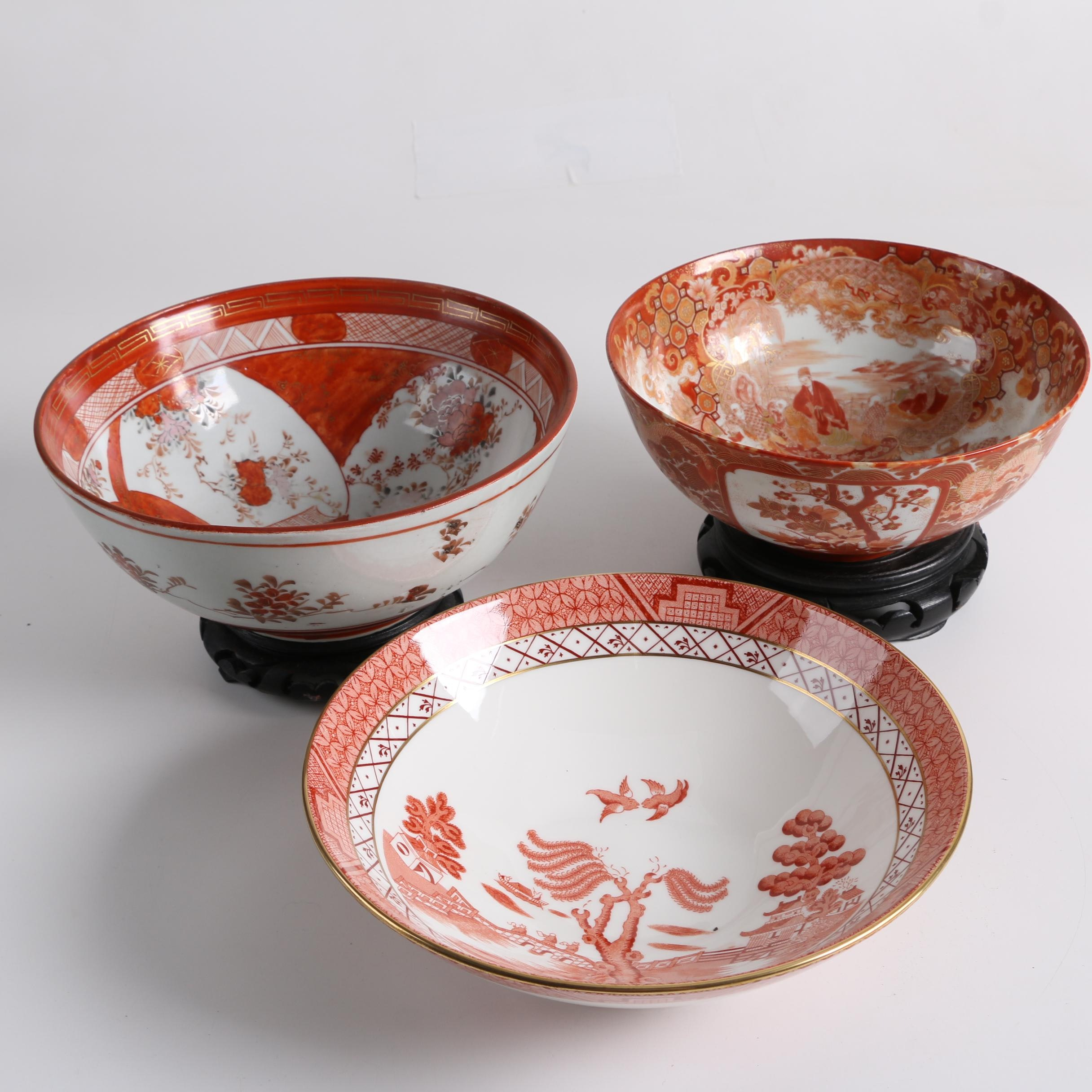 "Royal Doulton ""Real Old Willow"" Bone China Bowl with Other Asian Themed Bowls"