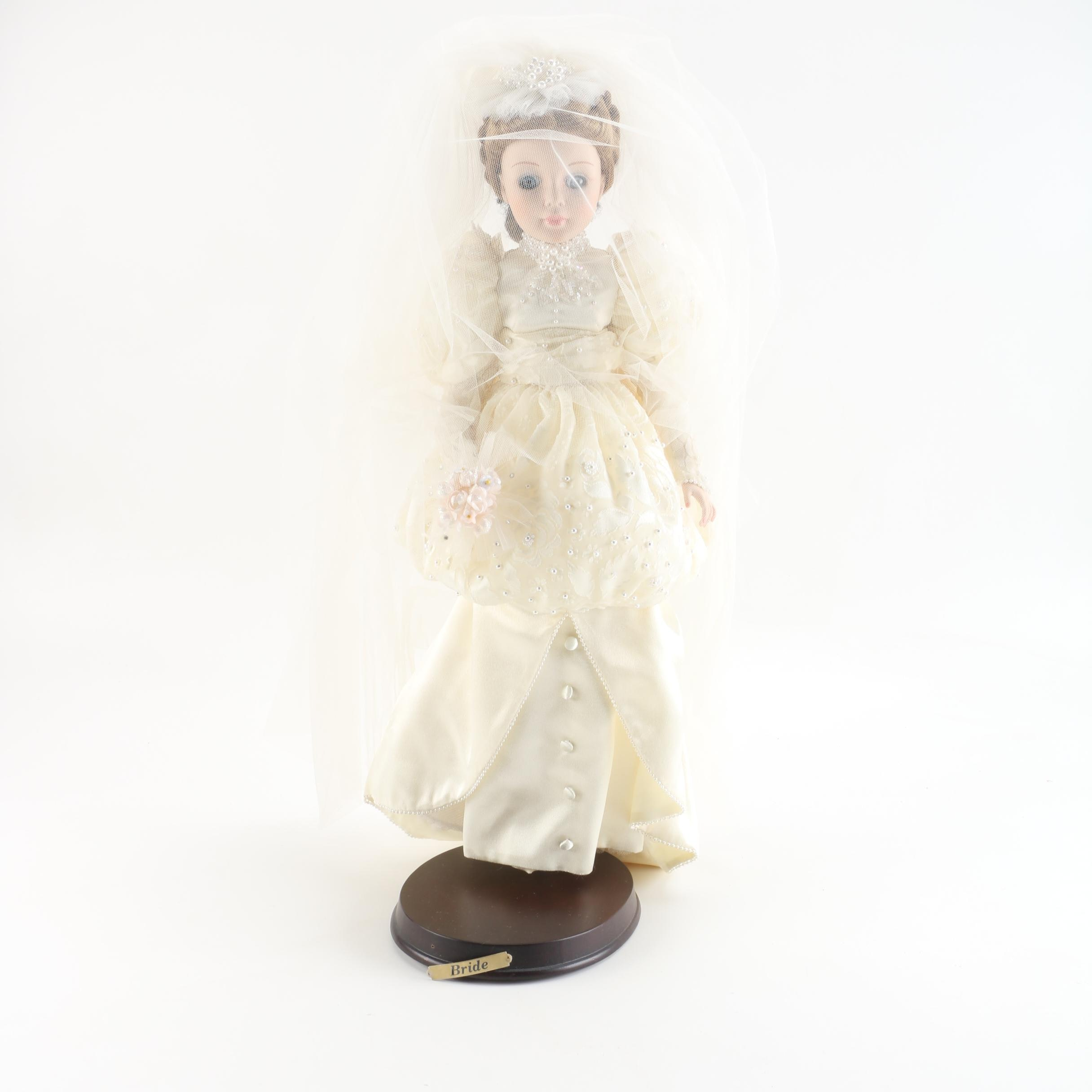 """1989 Madame Alexander Porcelain """"Bride"""" Doll with Stand"""