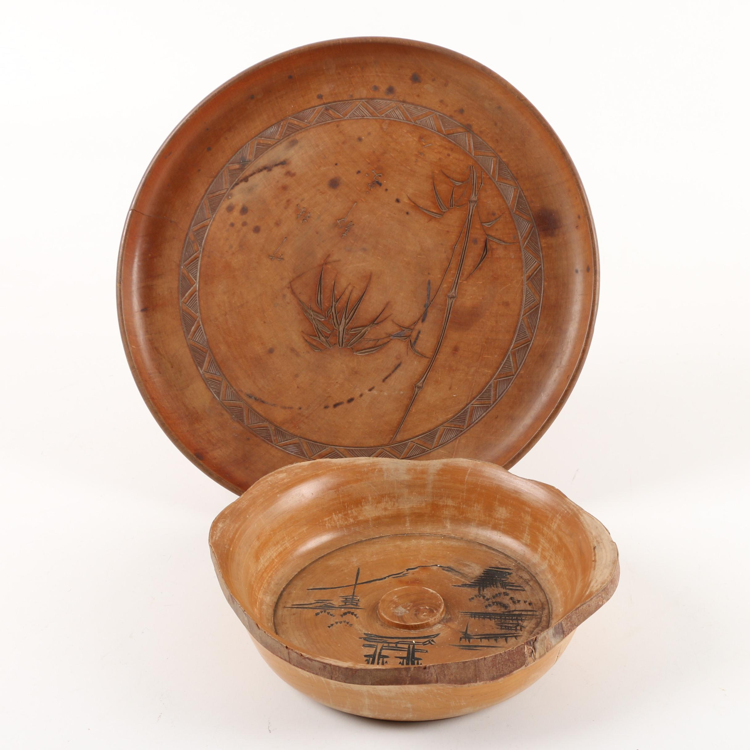 Vintage East Asian Hand-Incised Wooden Bowl and Plate