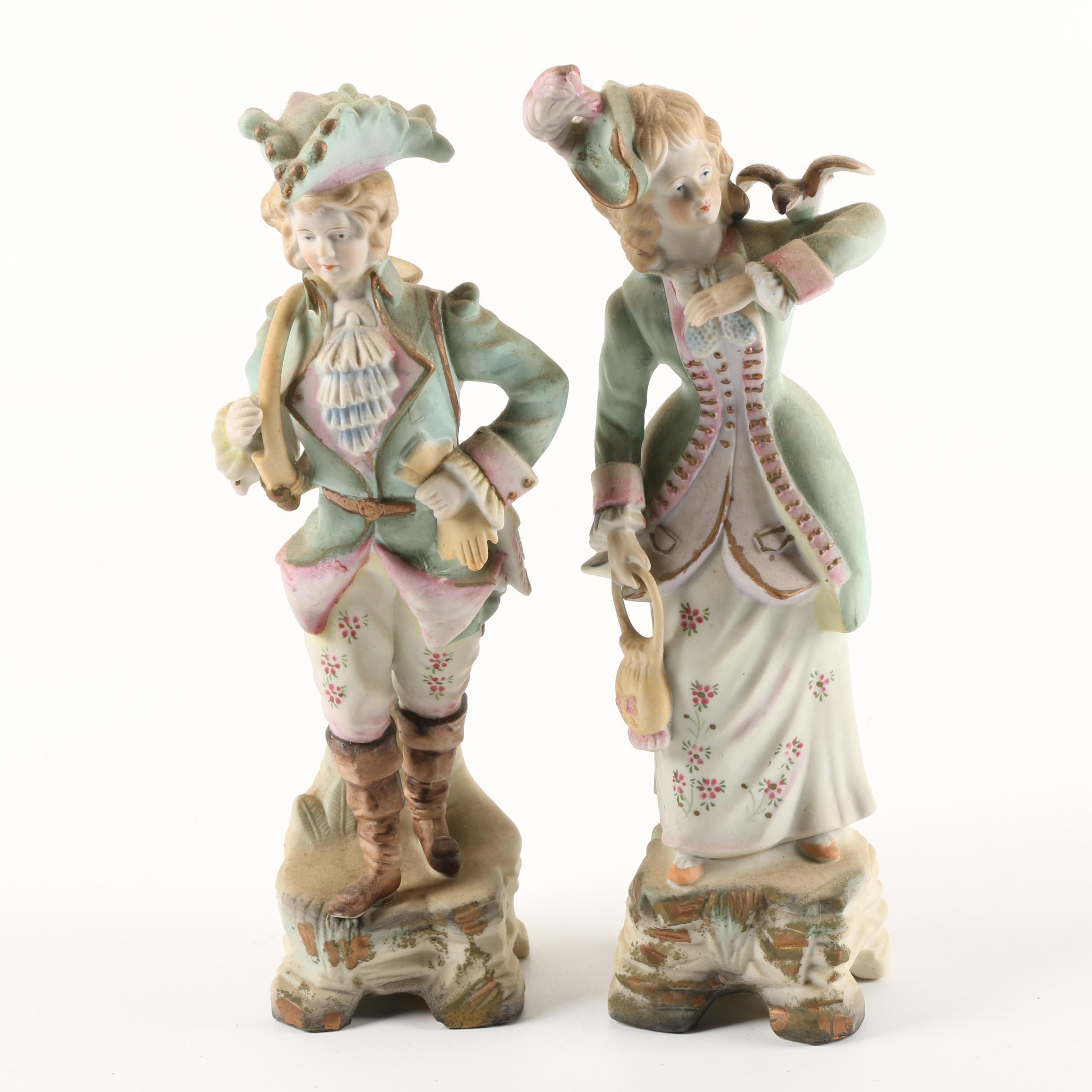 Betson Hand-Painted Bisque Porcelain Figurines Made in Occupied Japan