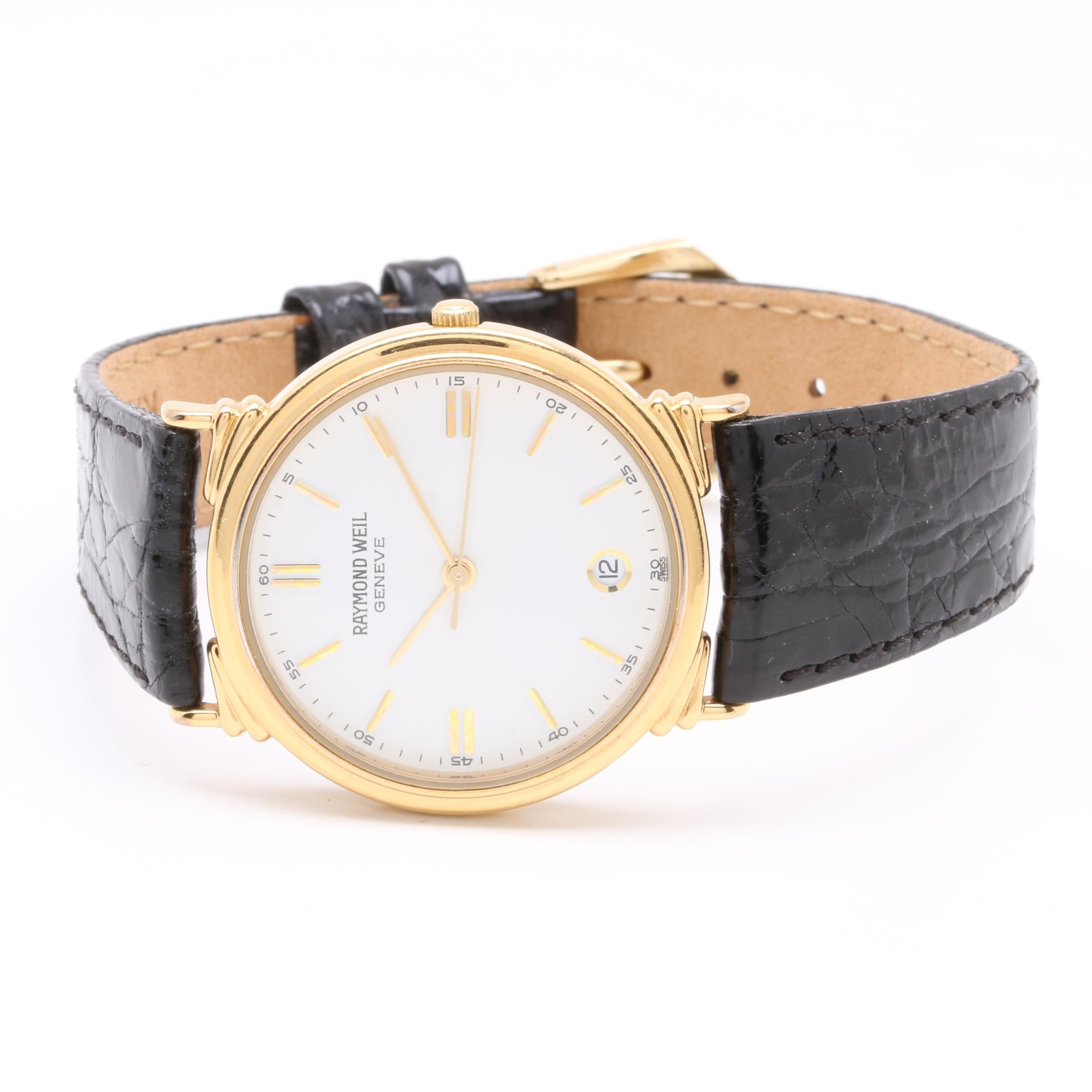 Raymond Weil Gold-Tone and Stainless Steel Leather Wristwatch