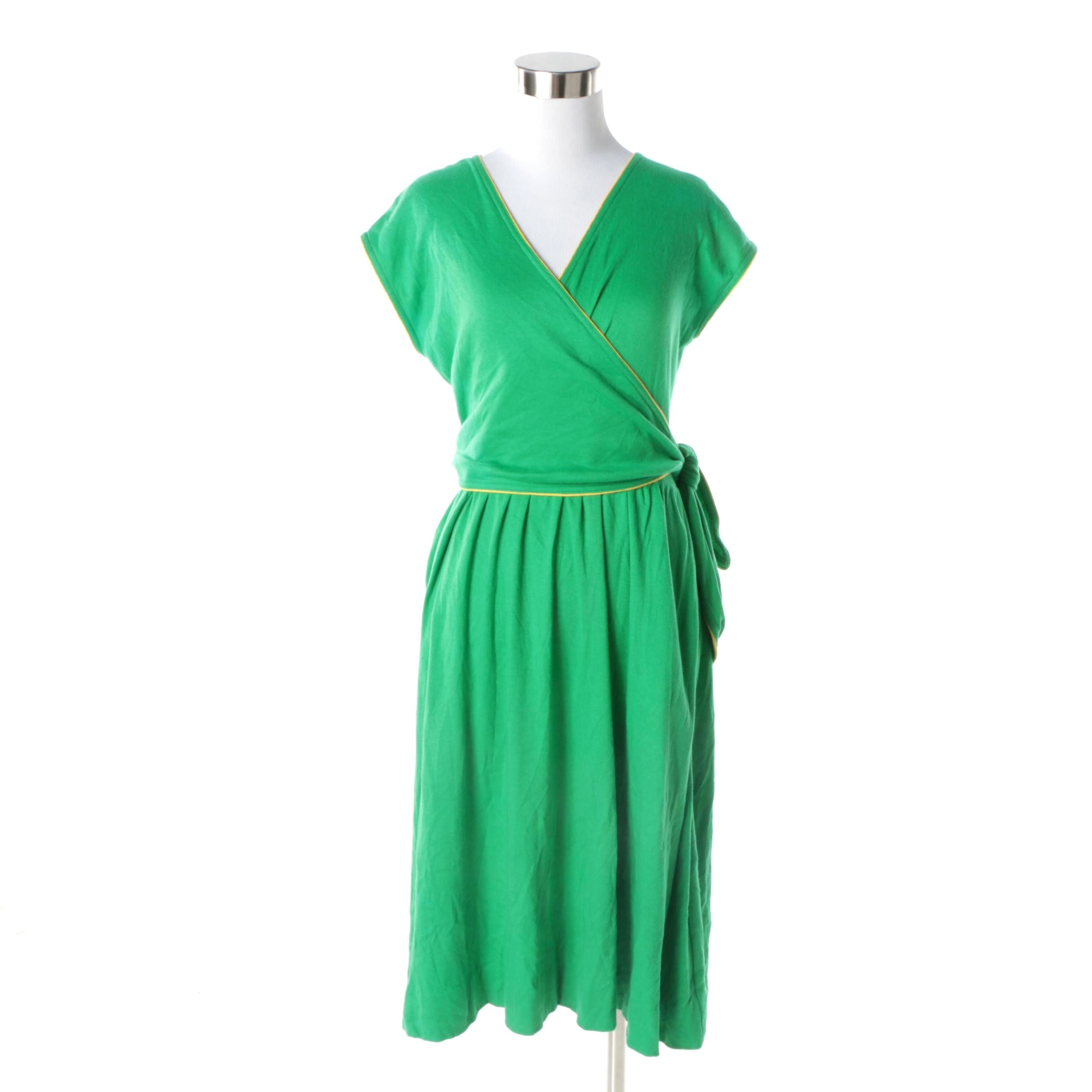 Circa 1970s Diane Von Furstenberg Kelly Green Wrap Dress with Yellow Piping