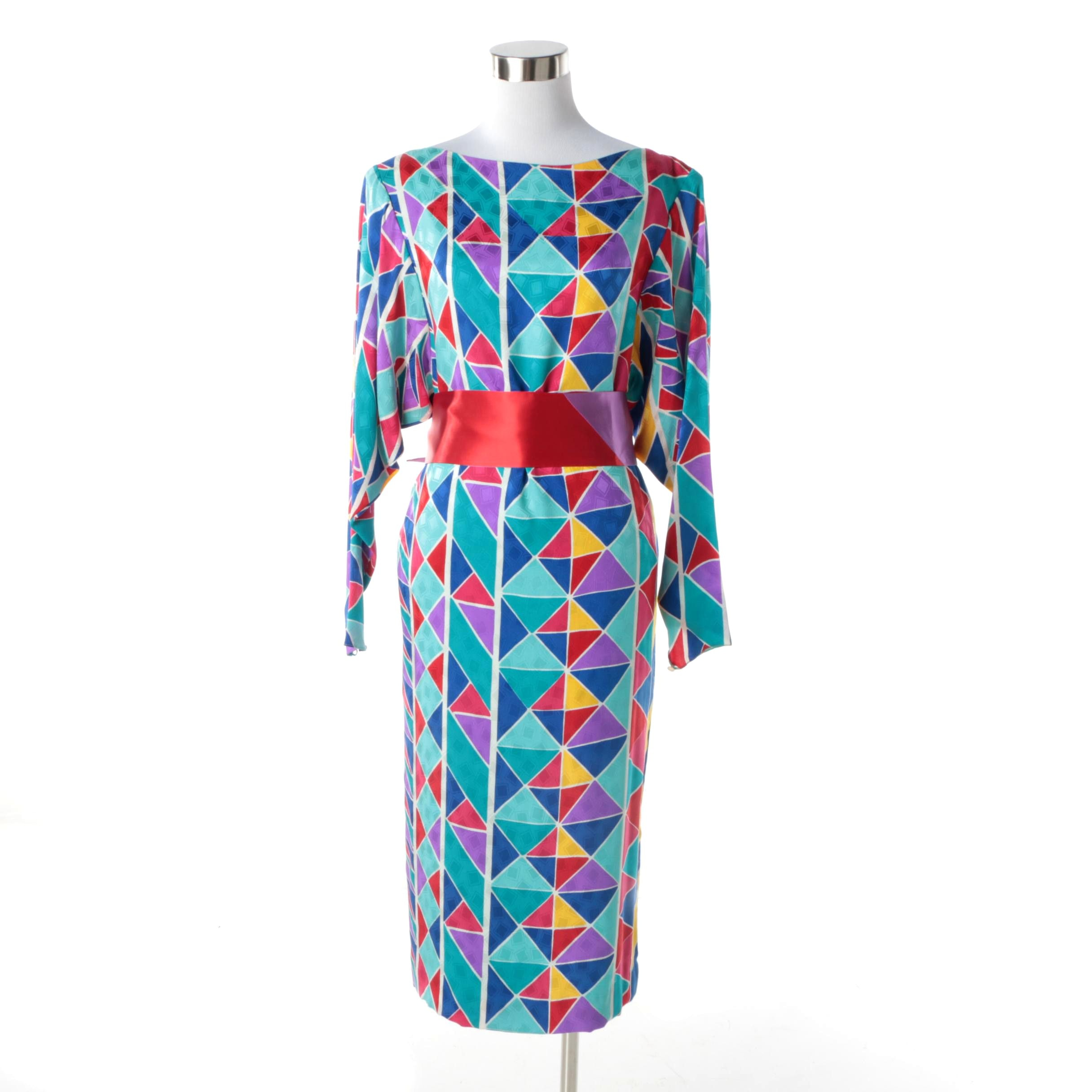 Circa 1980s Vintage Hanae Mori Multicolored Silk Geometric Print Maxi Dress