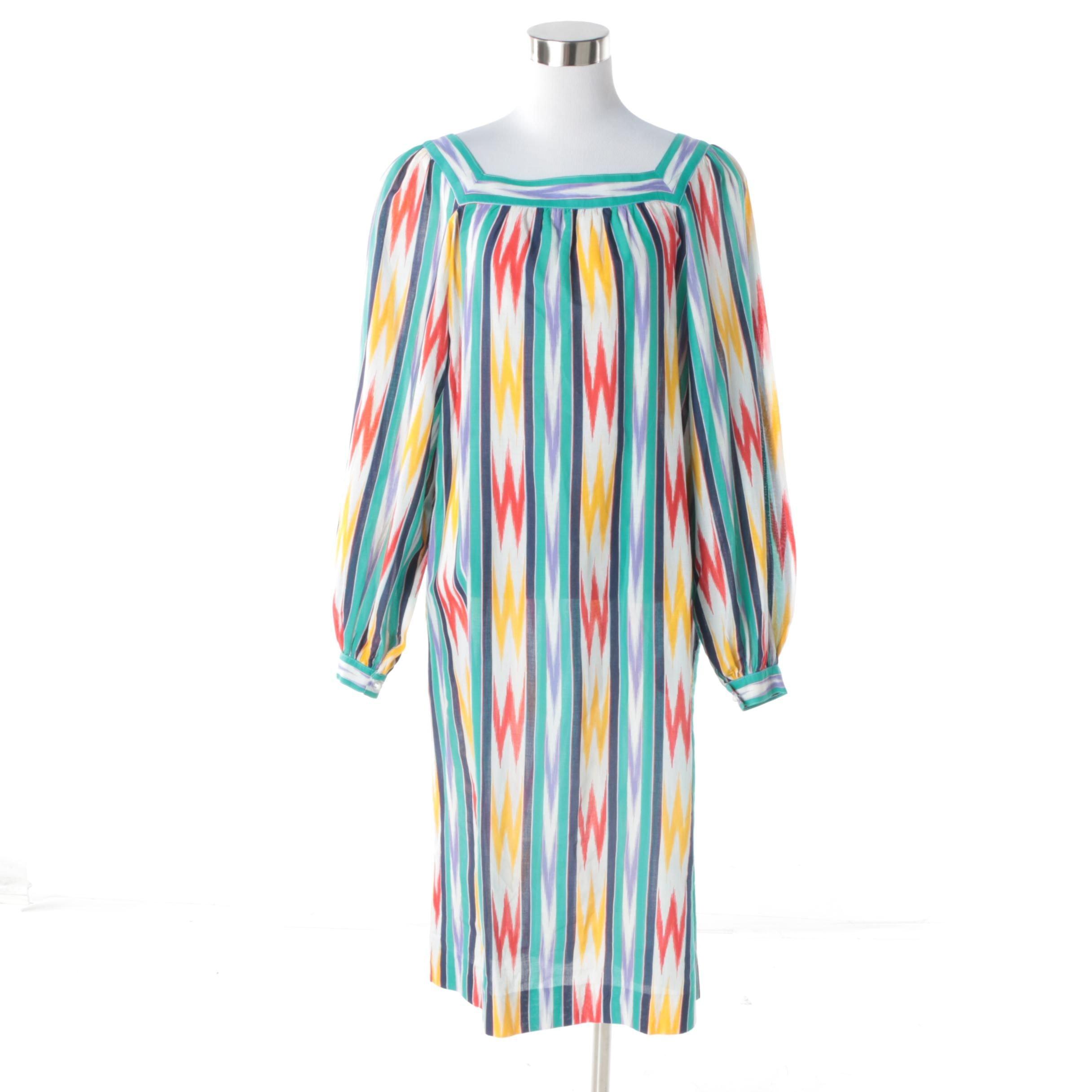Circa 1970s Vintage Hanae Mori Silk Ikat Stripe Midi Dress