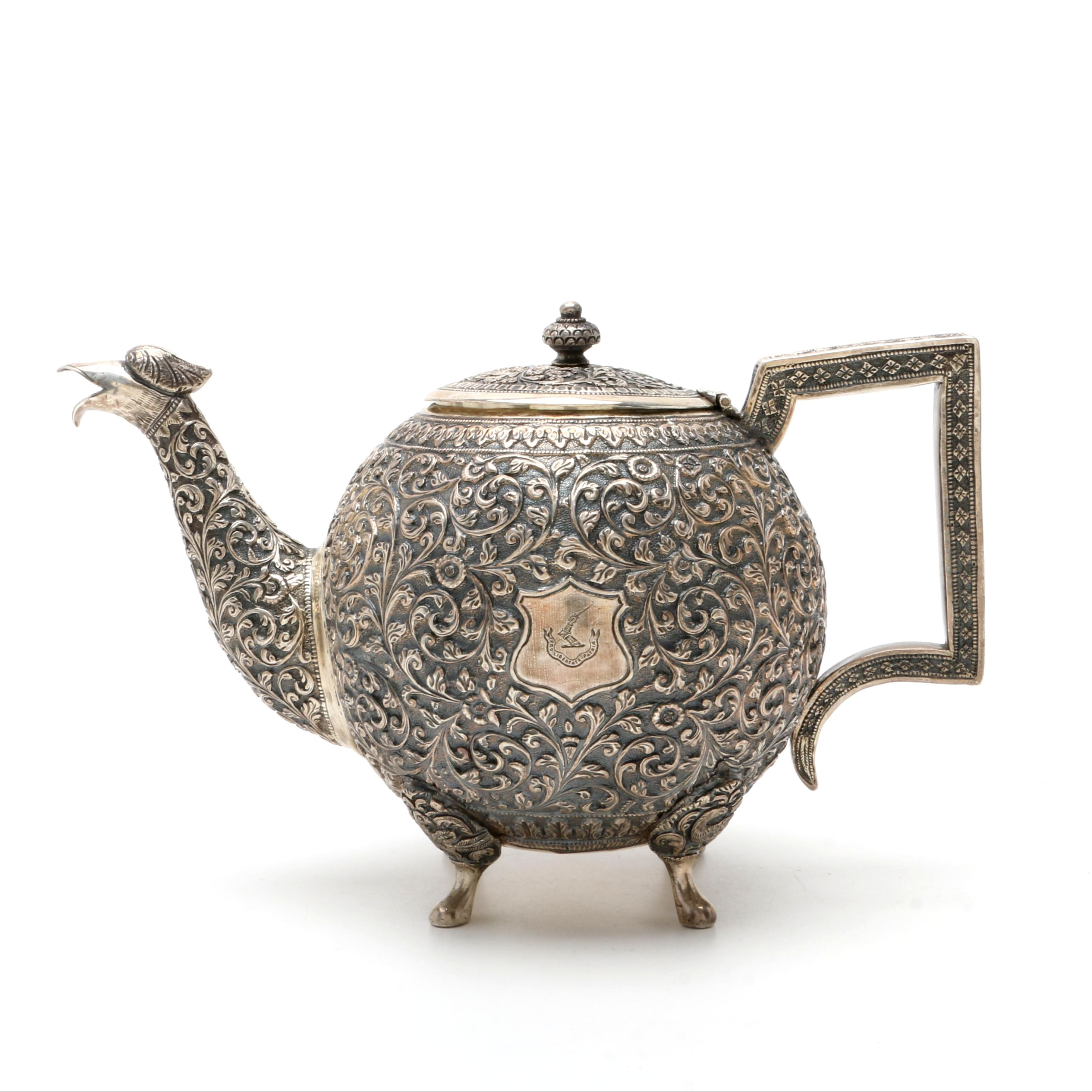 Antique Anglo-Indian Kutch Sterling Silver Repoussé Teapot