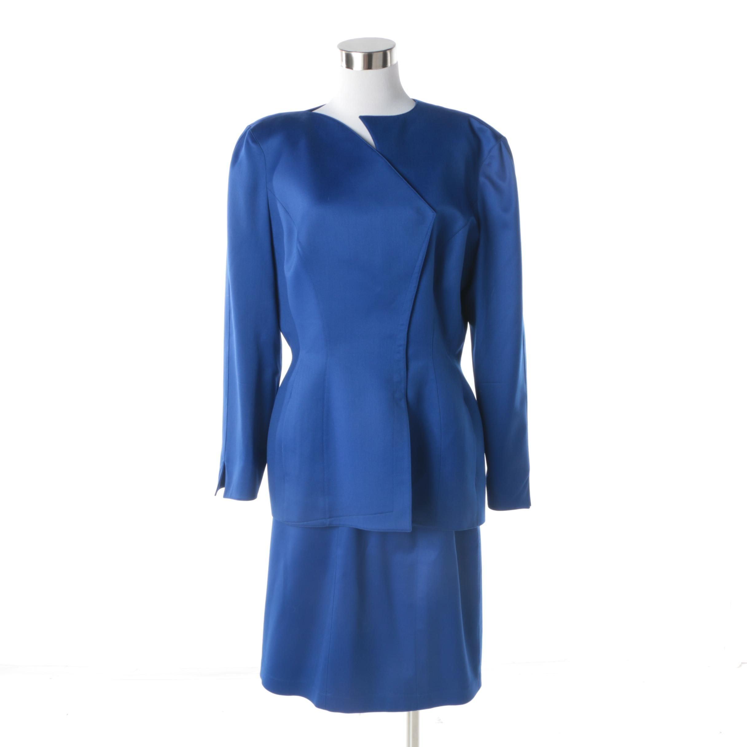 Circa 1980s Vintage Thierry Mugler of Paris Cobalt Blue Skirt Suit