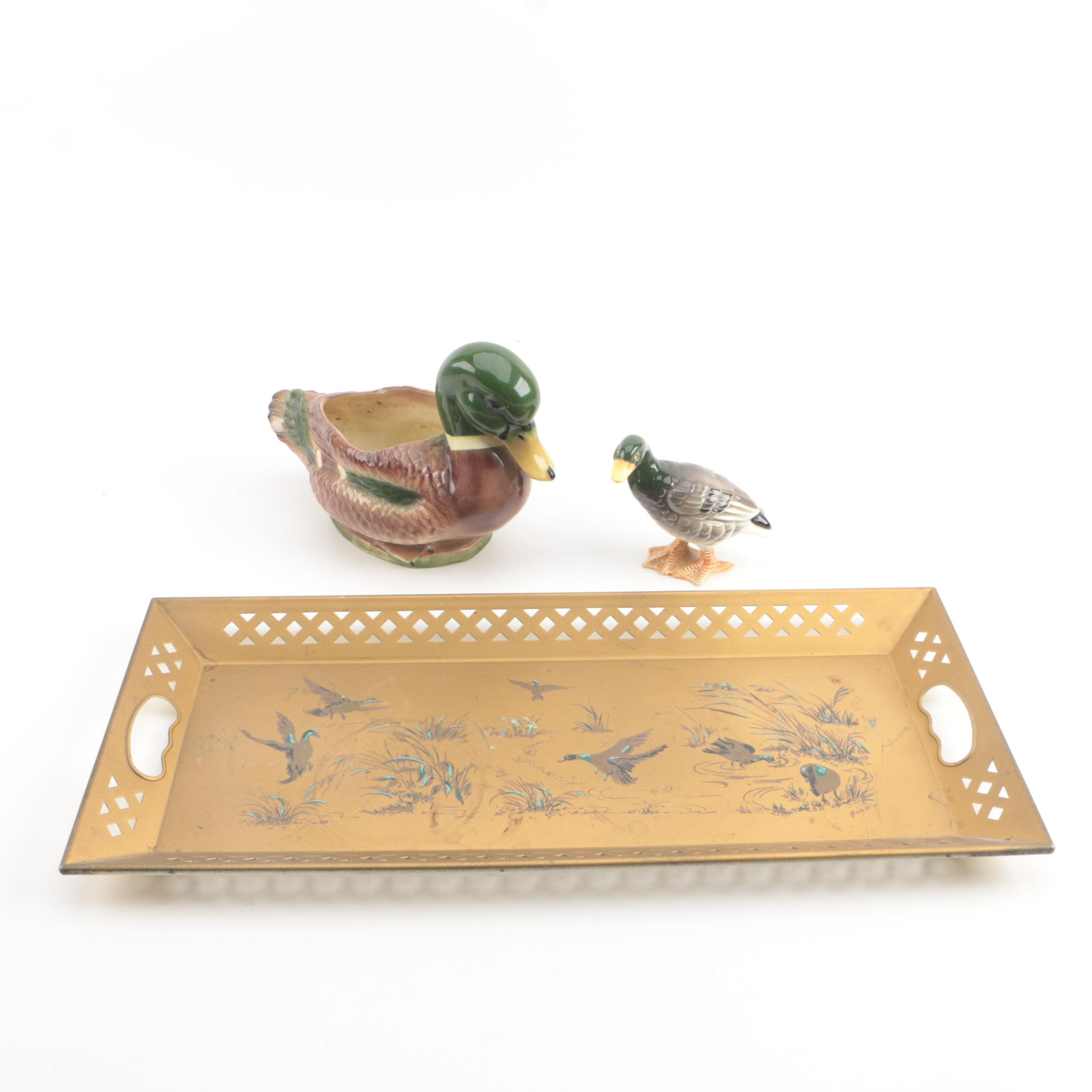 Vintage Duck Themed Tole Tray with Ceramic Figurine and Bowl
