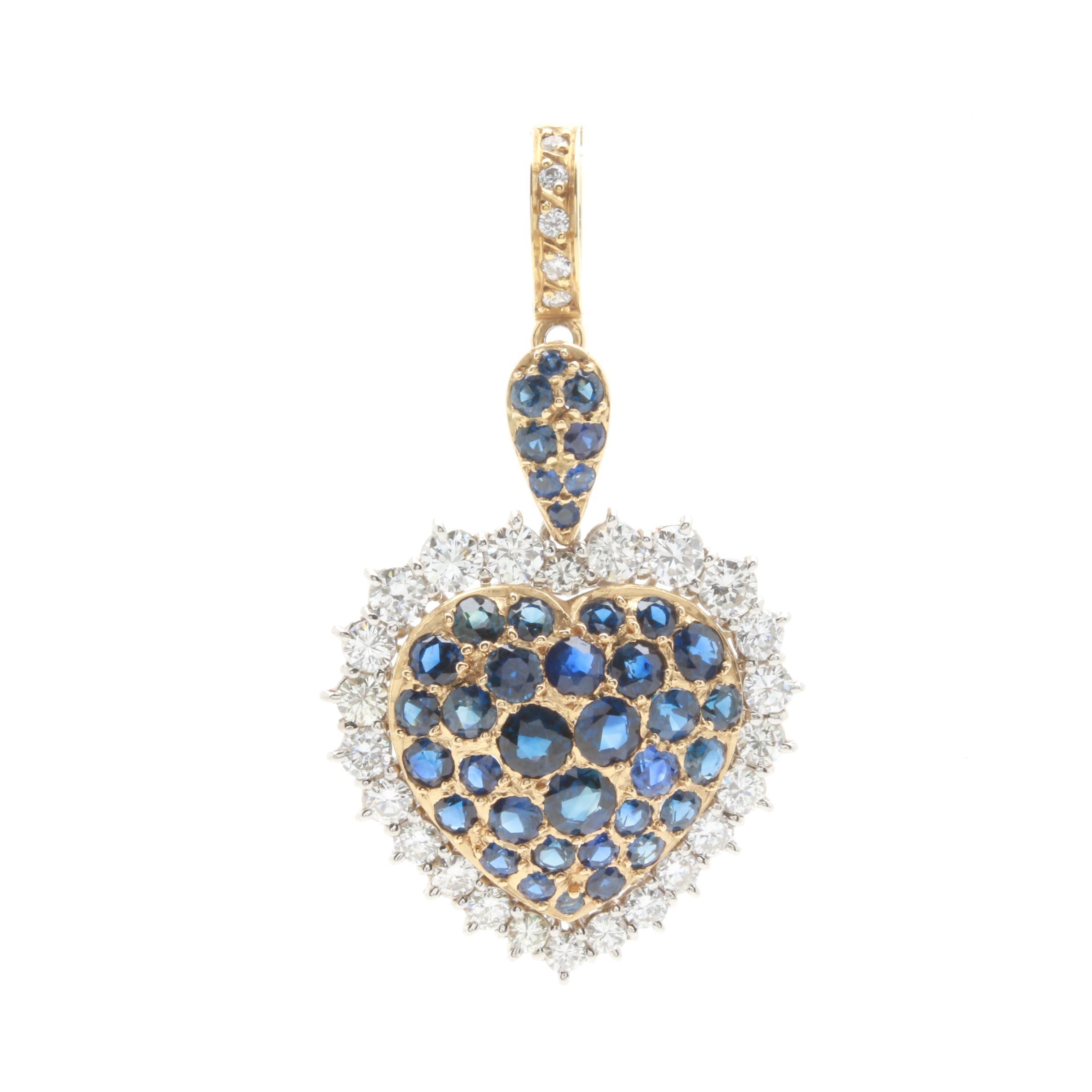 Platinum and 18K Yellow  Gold Blue Sapphire and 1.25 CTW Diamond Heart Pendant