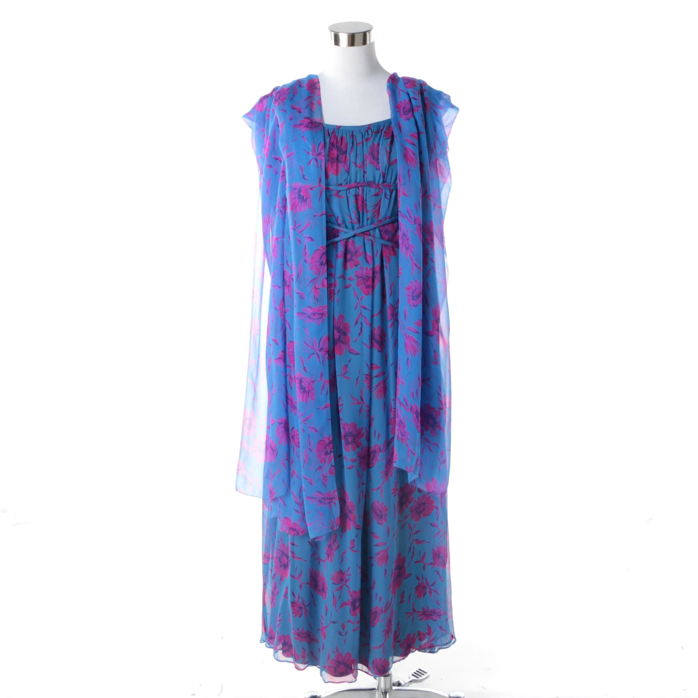 1970s Vintage Blue and Pink Silk Chiffon Sheer Layered Evening Dress with Shawl