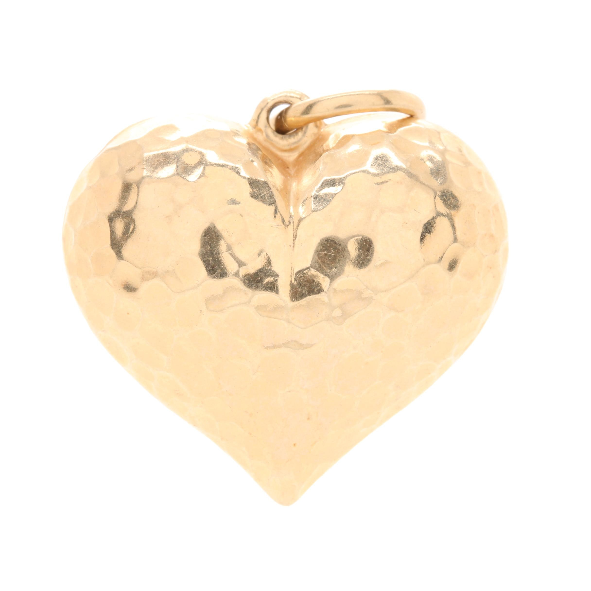 14K Yellow Gold Hammered Puffed Heart Charm