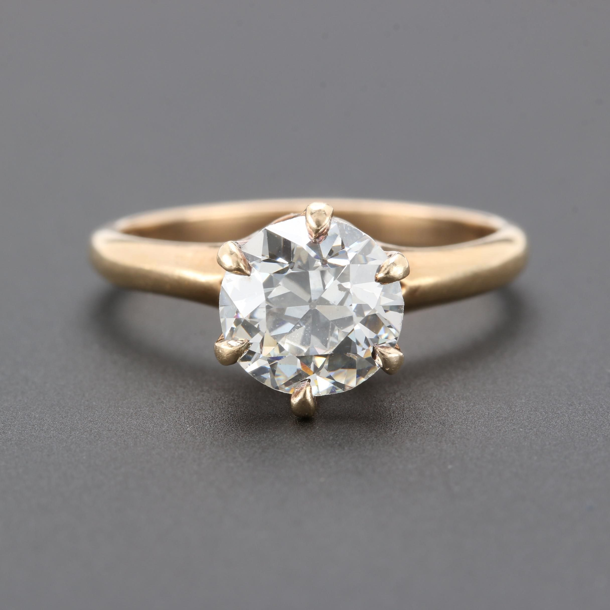 14K Yellow Gold 1.44 CT Diamond Solitaire Ring