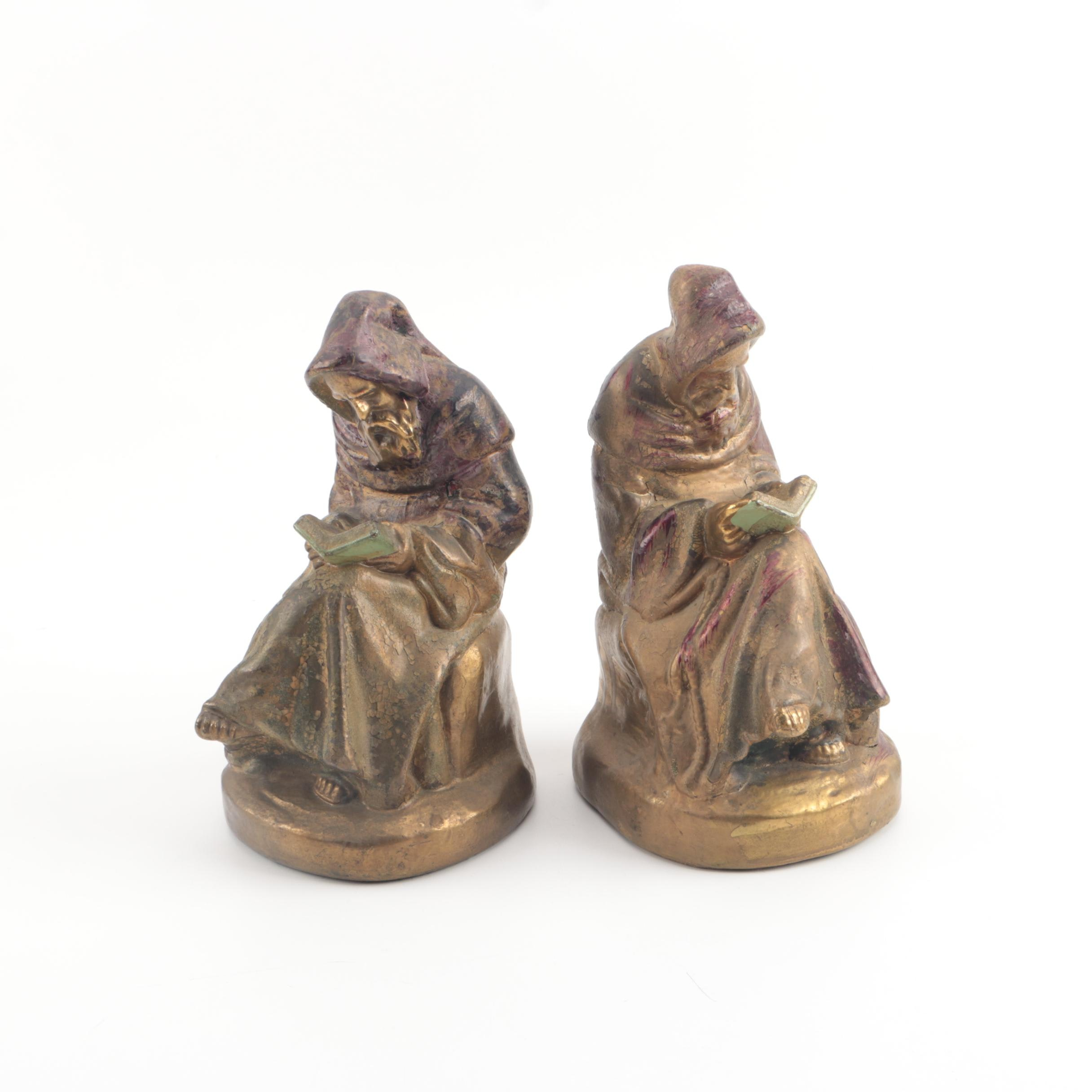 Vintage Armor Bronze Co. Reading Monk Bookends