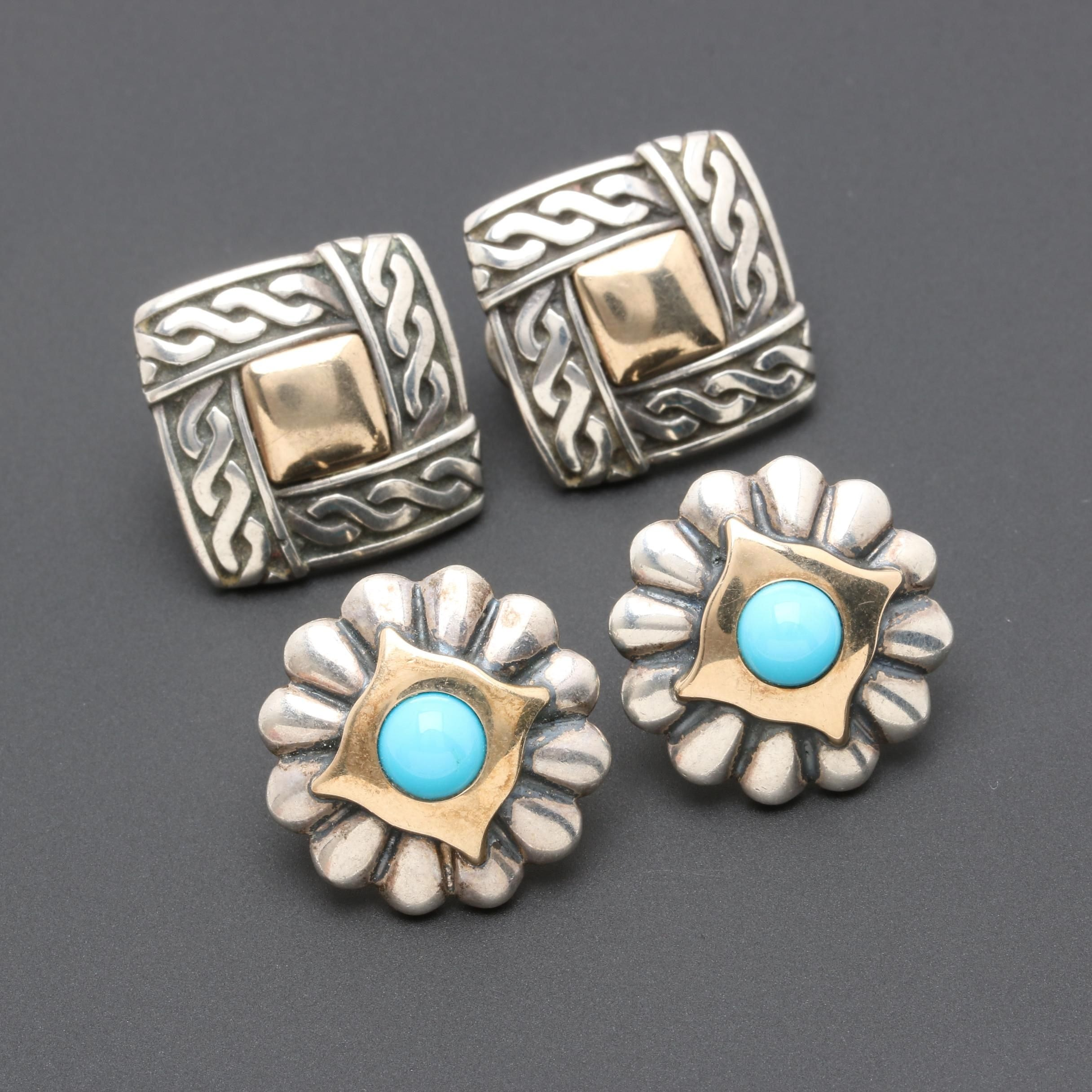 James Reid and James Avery Sterling Silver Earring Selection Including Turquoise