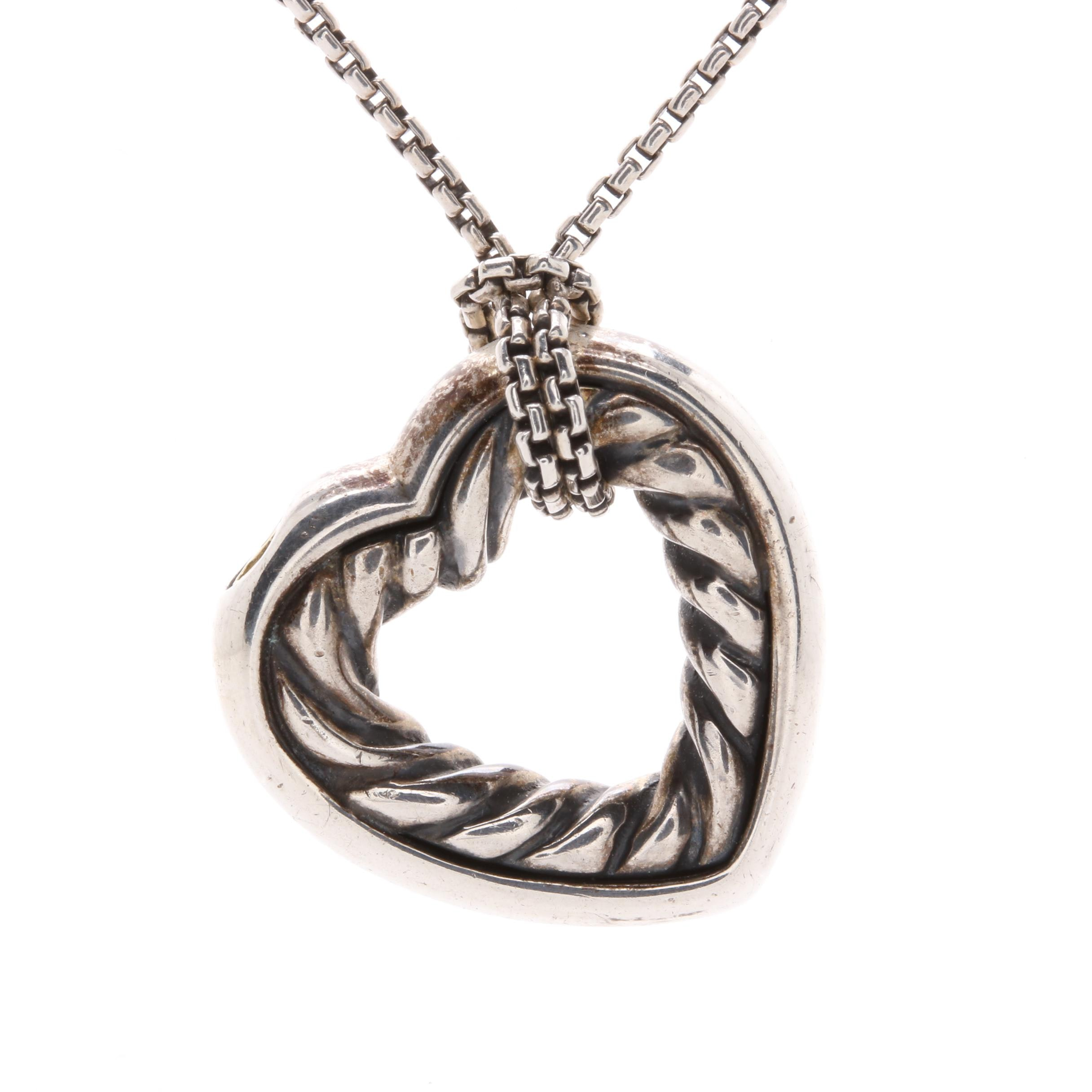 David Yurman Sterling Silver with 18K Yellow Gold Accented Heart Necklace