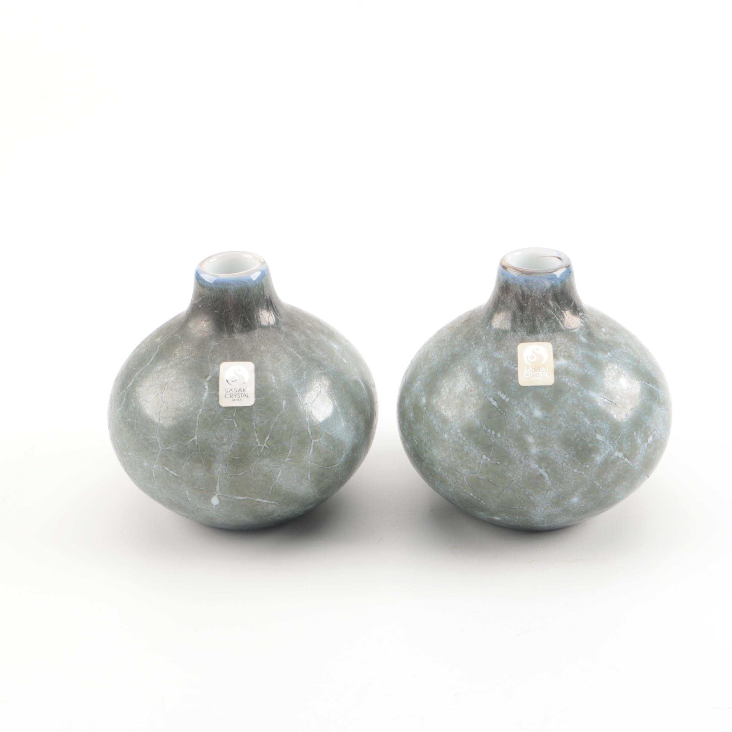 Contemporary Japanese Sasaki Crystal Bud Vases