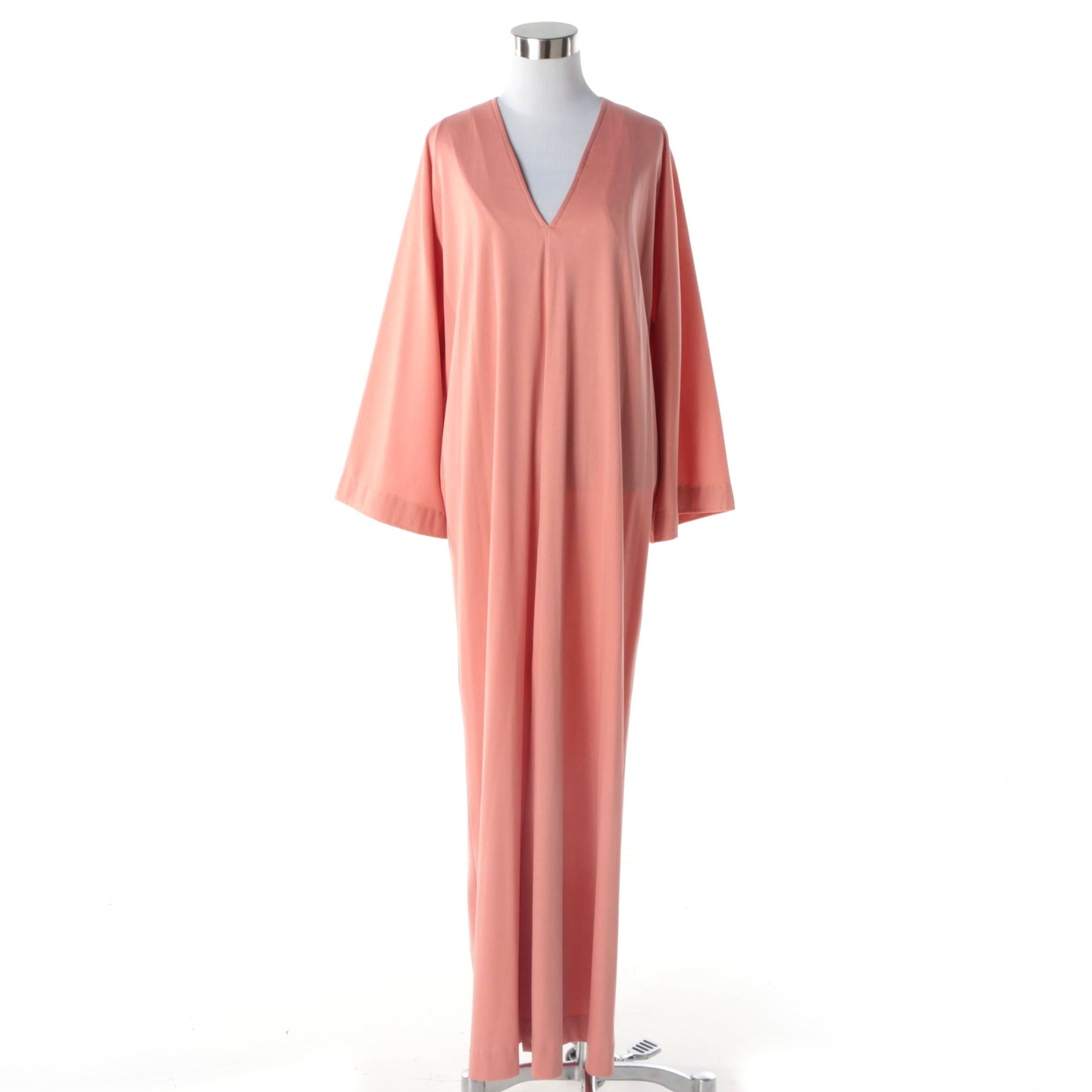 1970s Vintage Halston Blush Pink Maxi Dress Kaftan