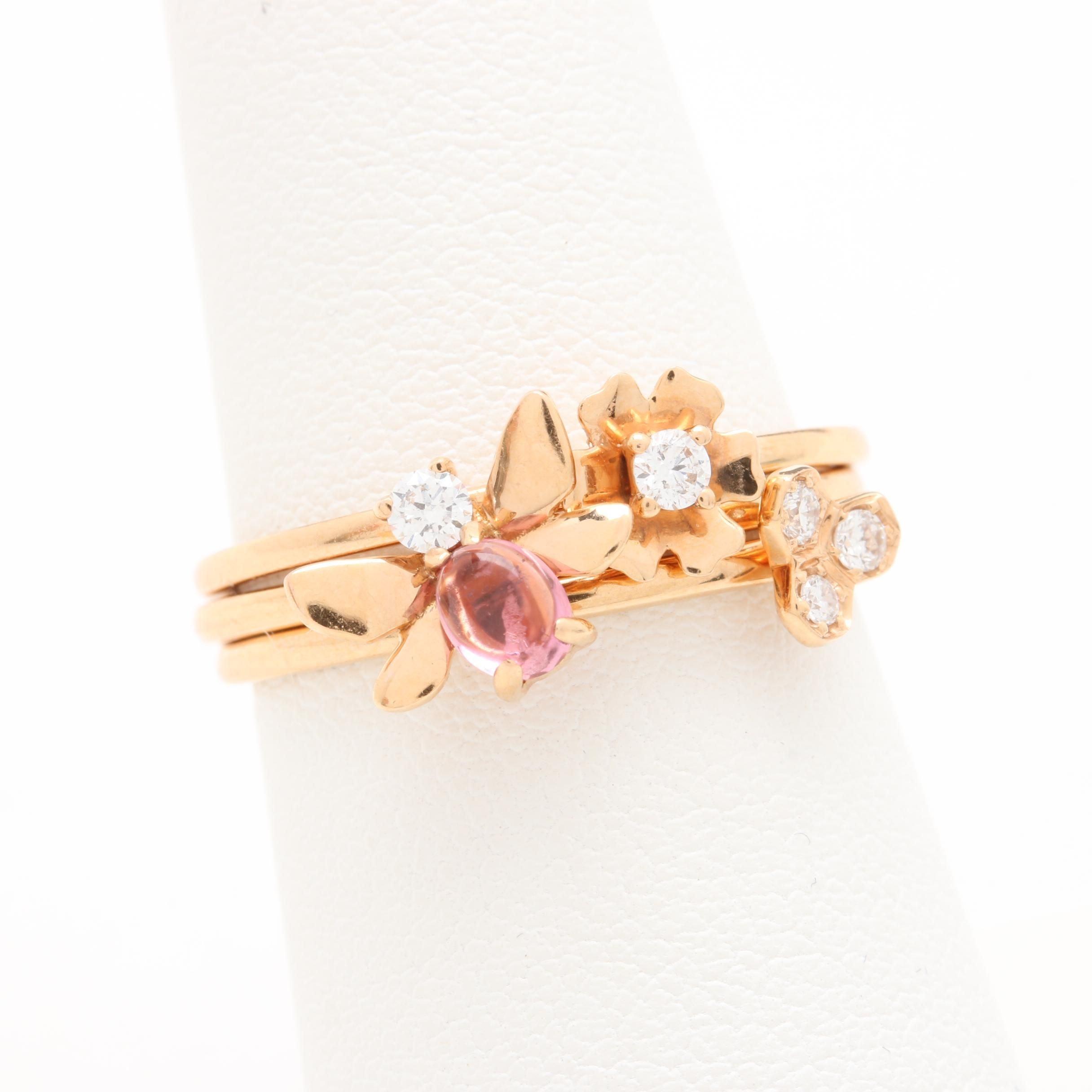 18K Yellow Gold Diamond and Pink Tourmaline Rings