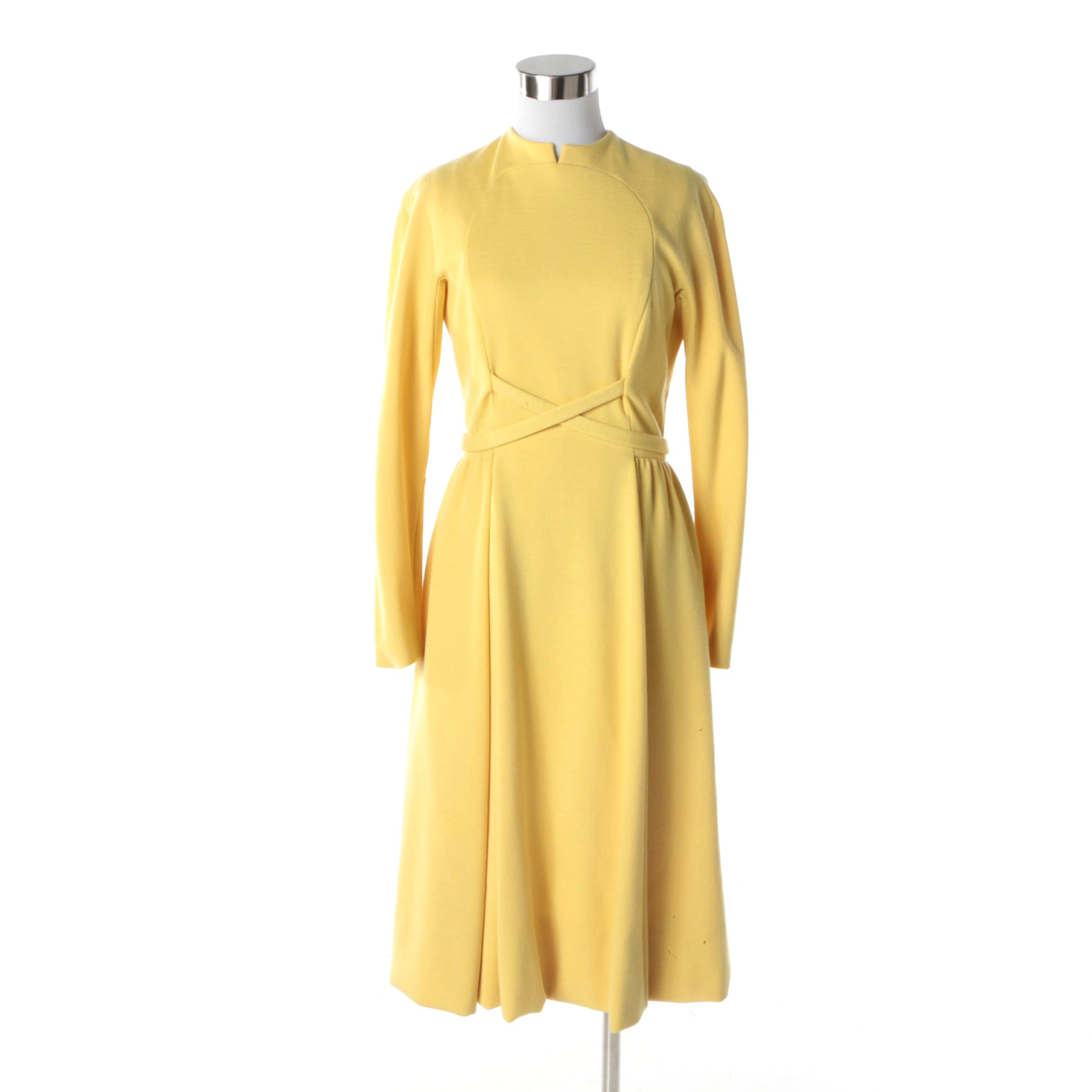 Women's Circa 1960s Vintage Geoffrey Beene Sunshine Yellow Mod Midi Dress