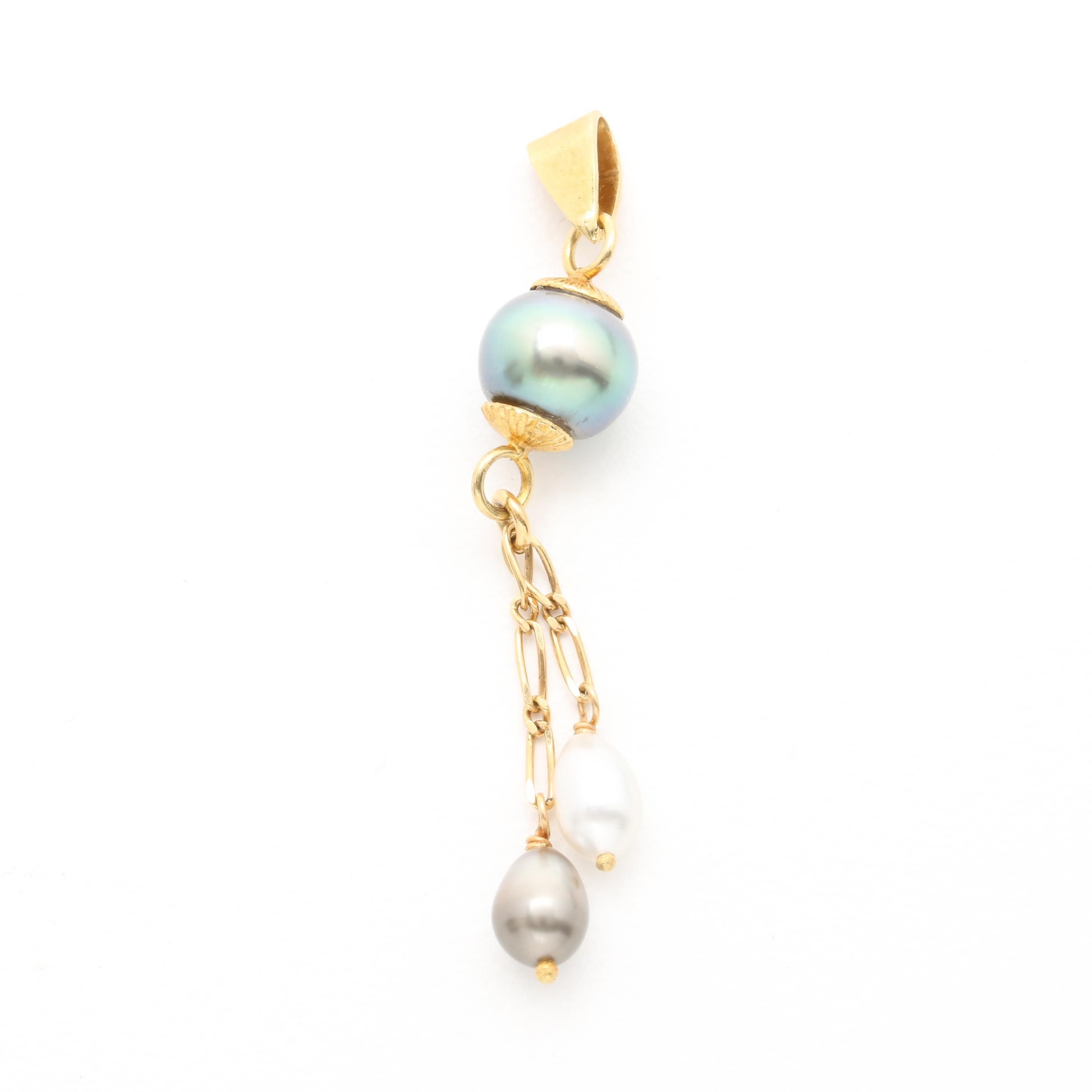 18K Yellow Gold Cultured Pearl Pendant