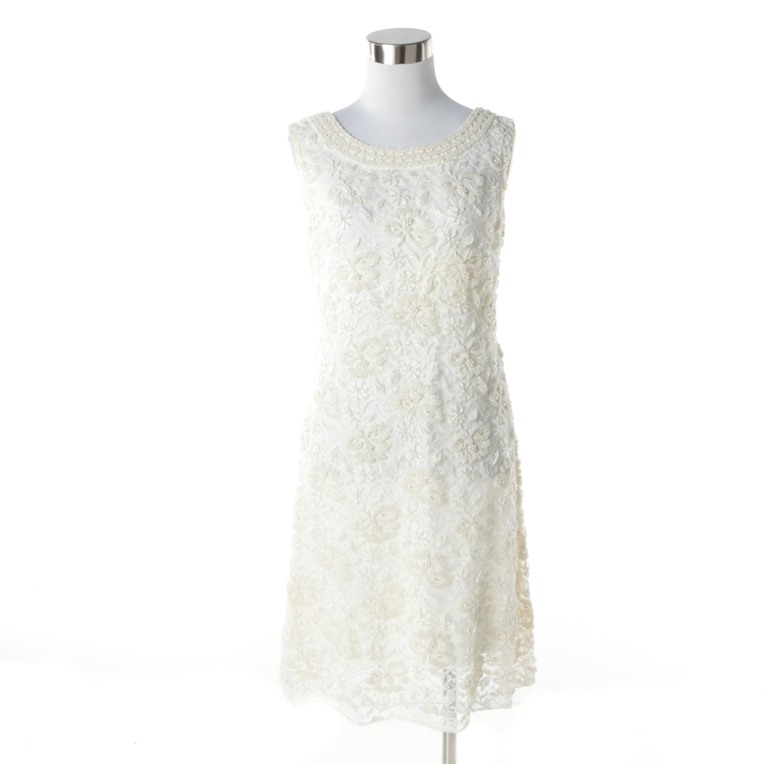 1960s Vintage Ricky Bo Hand Embroidered and Hand Beaded White Lace Shift Dress