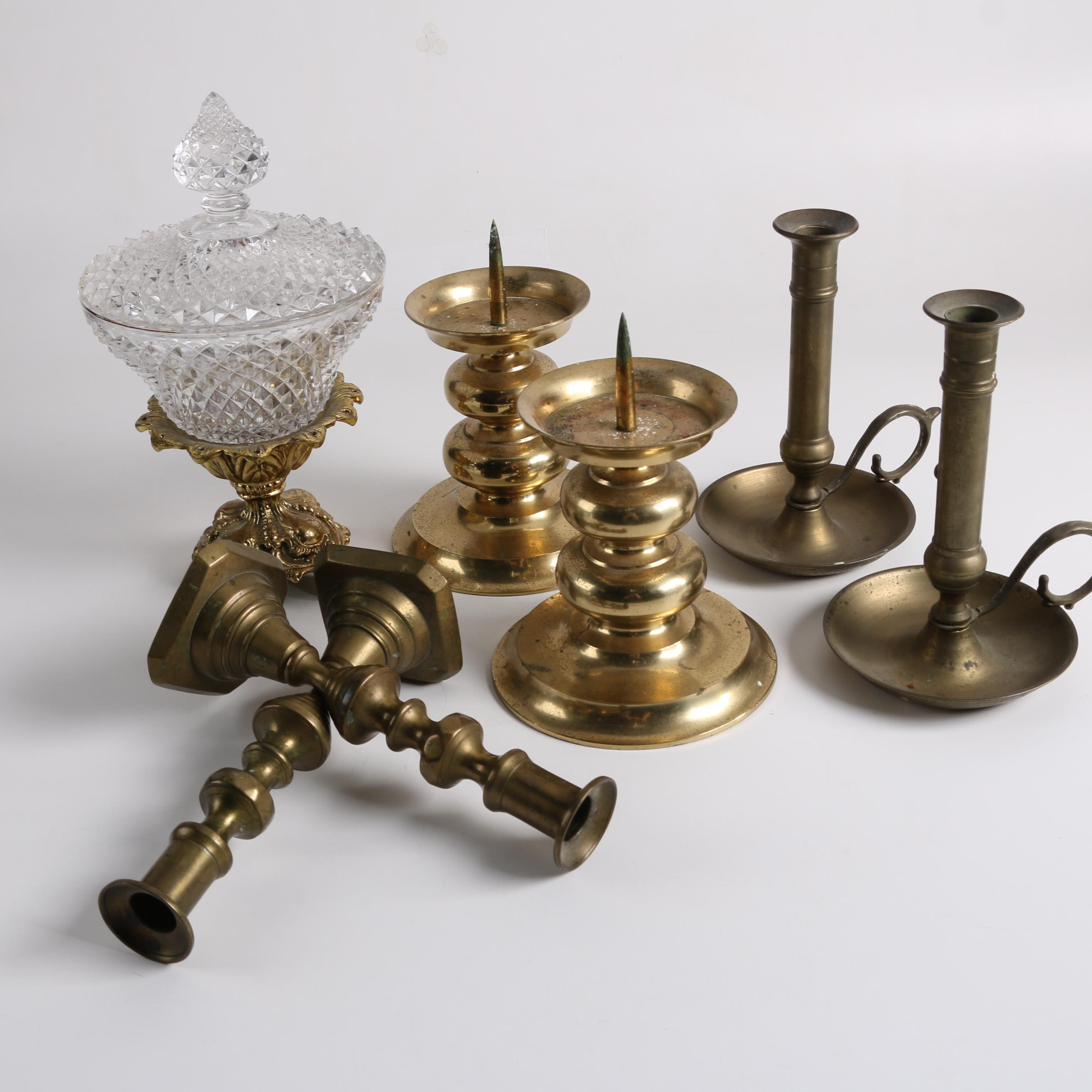 Vintage Brass Candleholders and Pressed Glass Candy Dish
