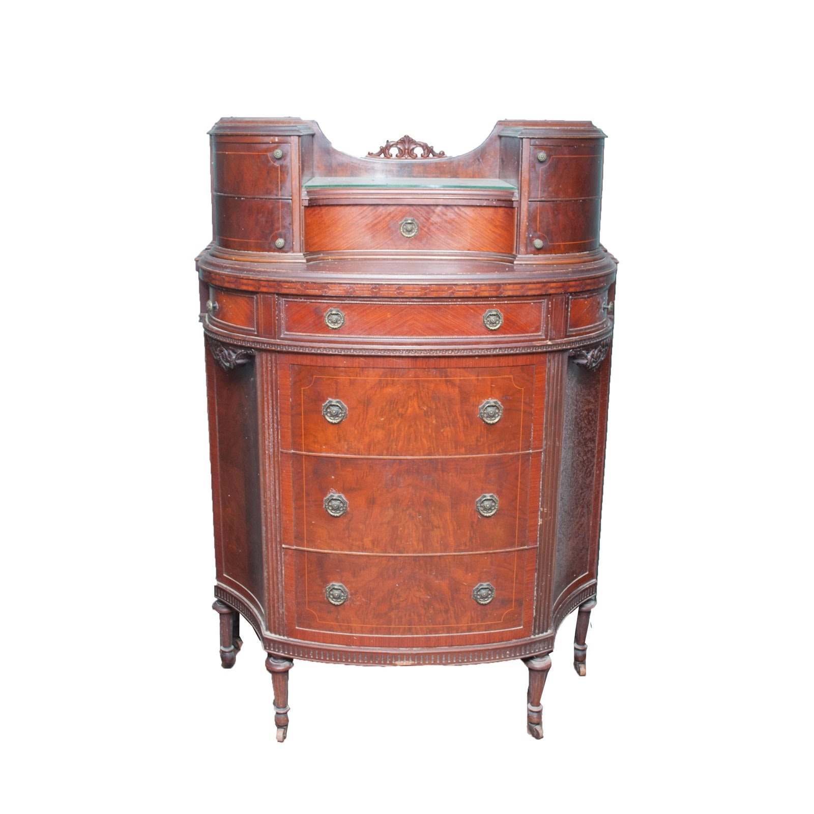 Antique Stille and Duhlmeier Company Chest on Chest of Drawers