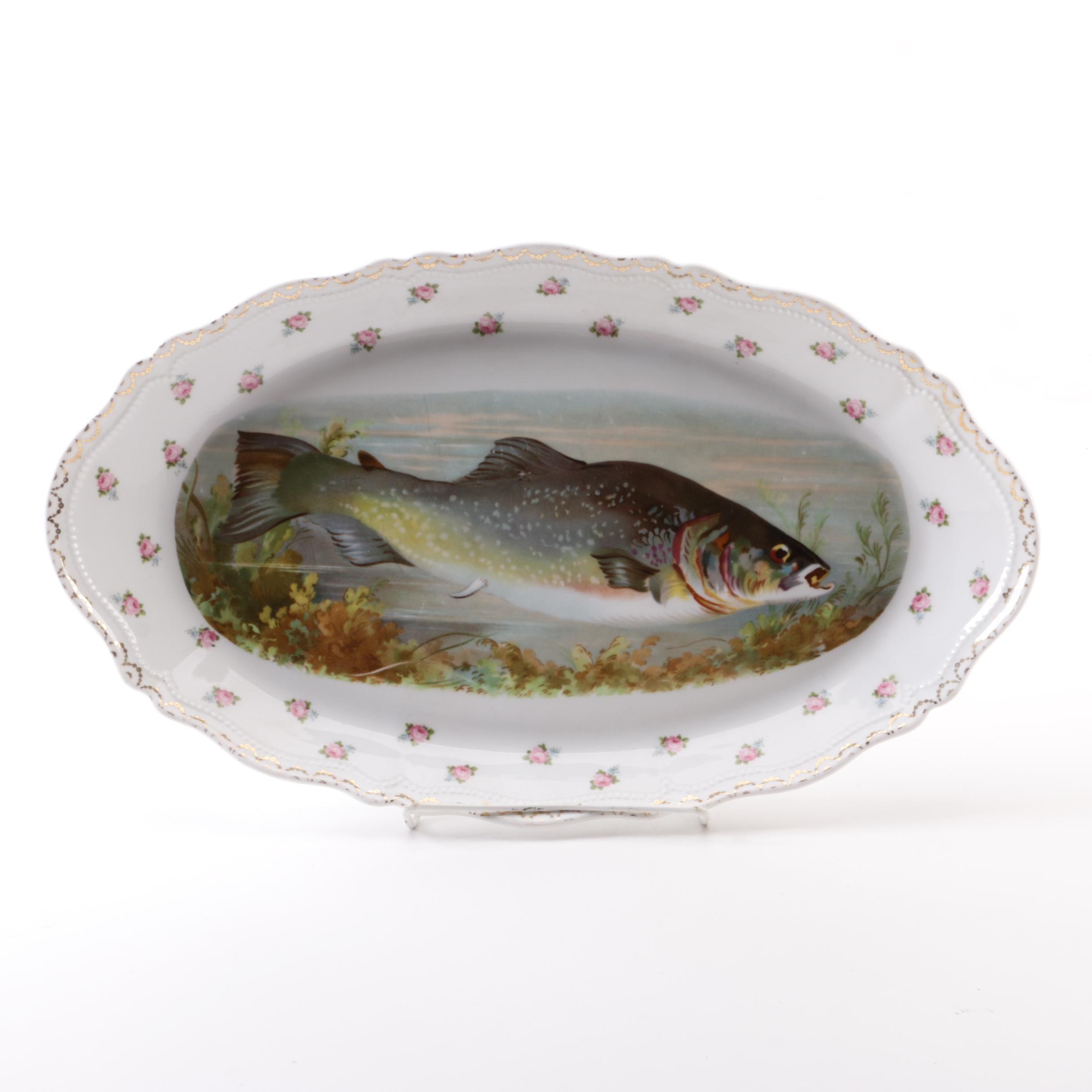 Antique Oscar & Edgar Gutherz Porcelain Fish Platter