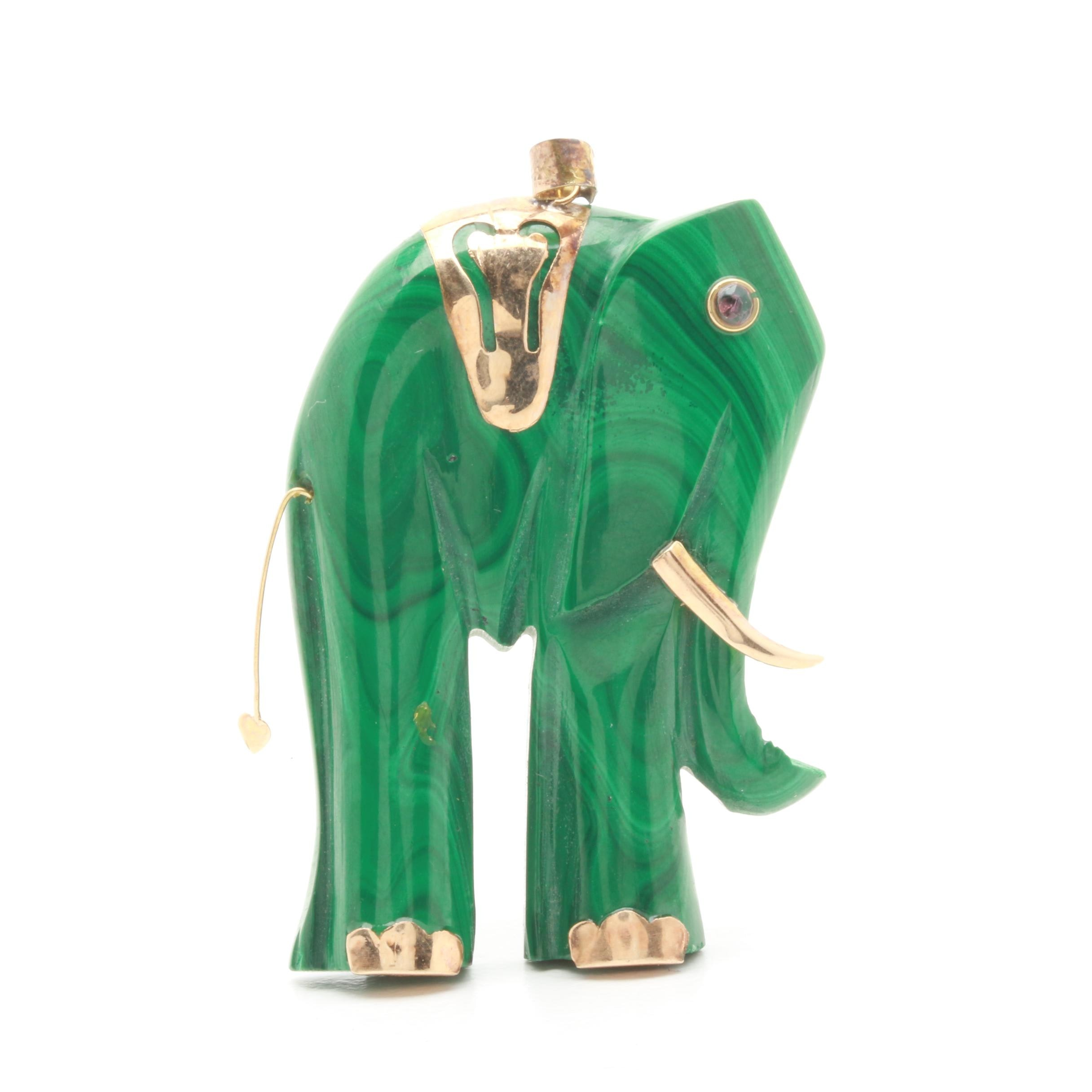14K and 10K Yellow Gold Malachite and Red Spinel Elephant Pendant