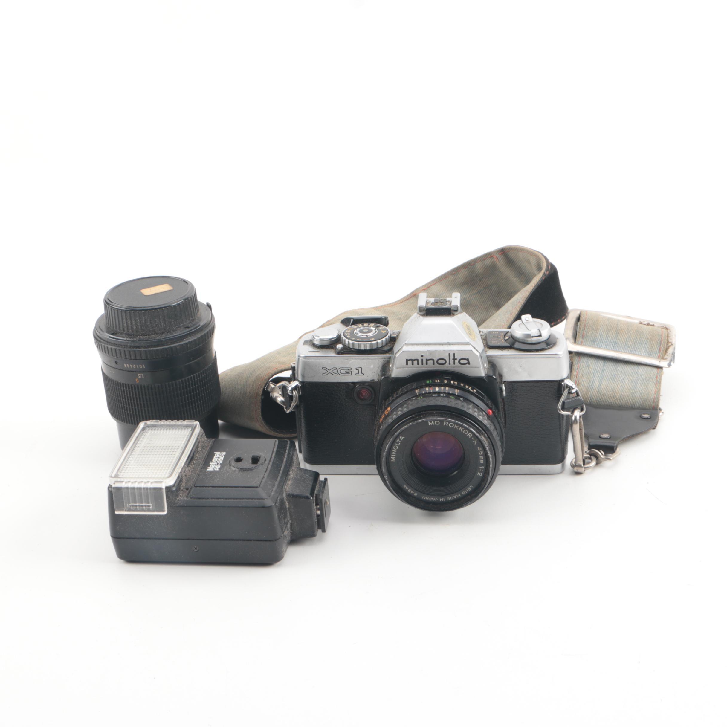 Vintage Minolta XG 1 35mm SLR Camera with Flash and Lens