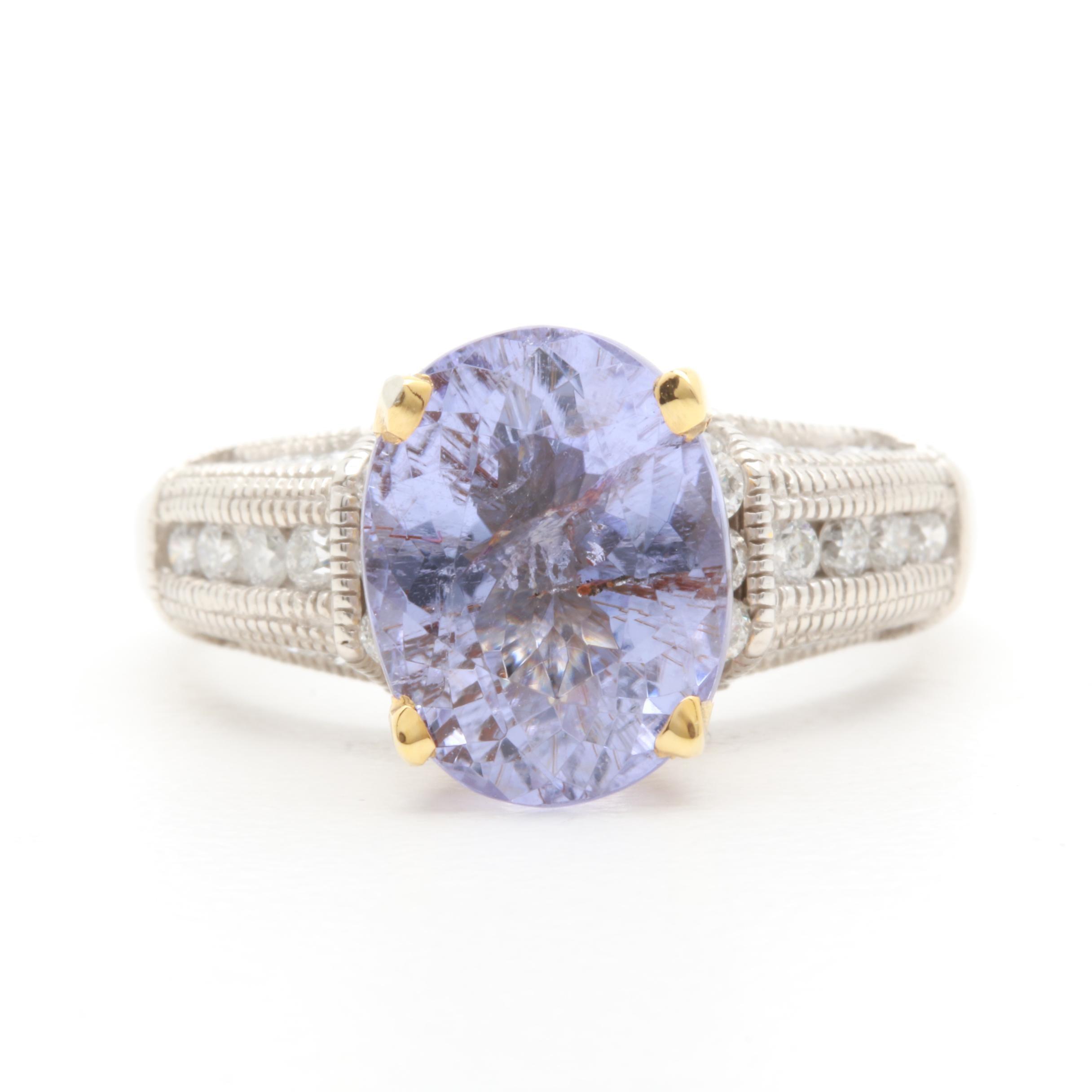 14K White Gold Purple Tourmaline and Diamond Ring